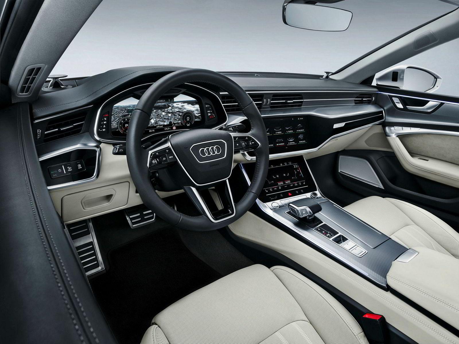 Audi A7 er åpenbart ganske moderne innvendig.