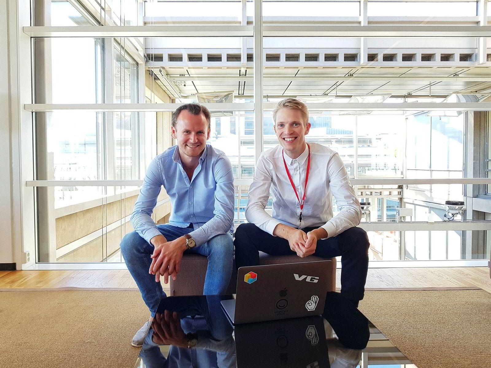Jørgen Elton Nilsen, leder av VG Lab, og Alexander Rydfjord, kommersiell produktdirektør i VG.