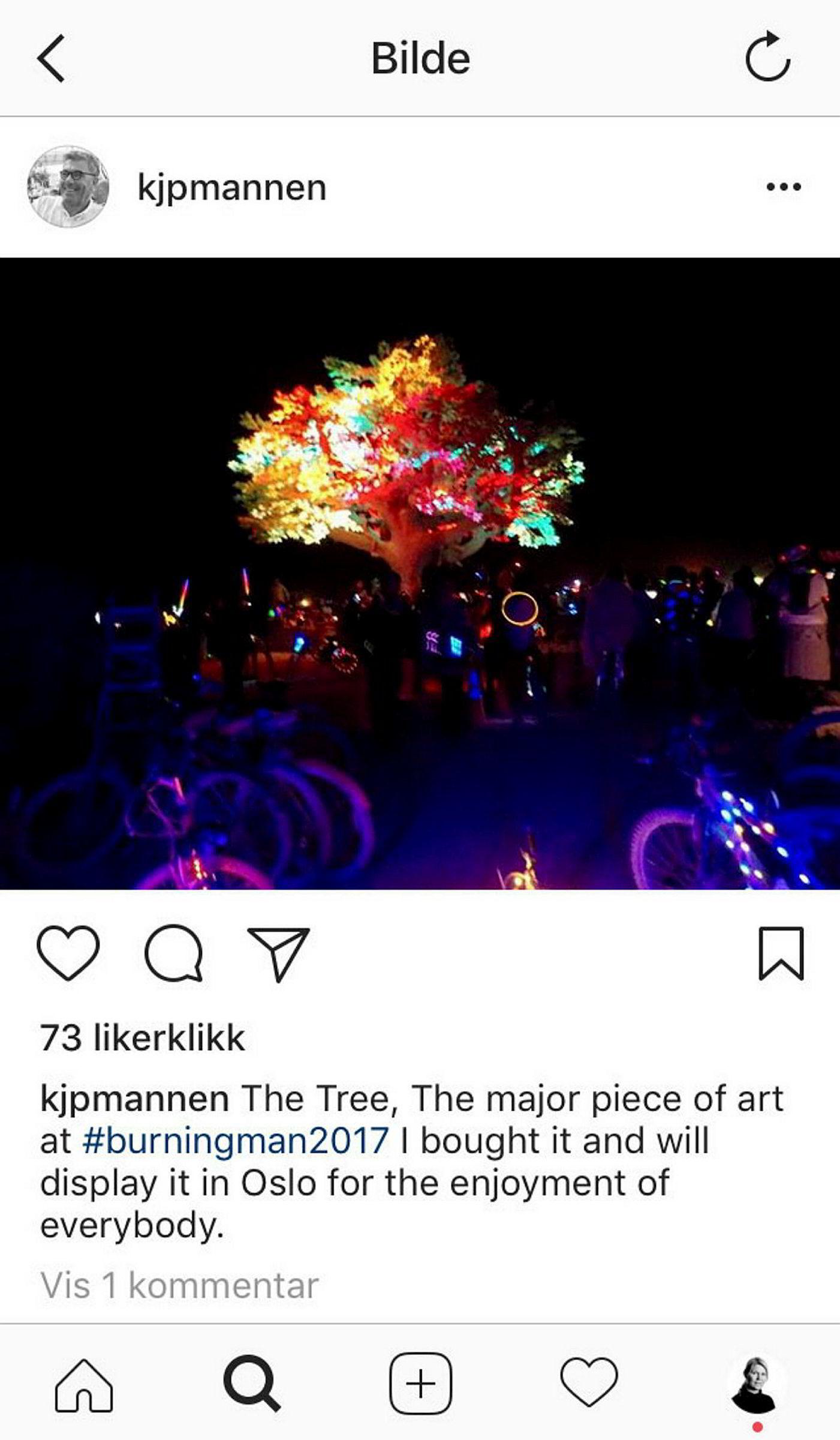 Stein Erik Hagens egen post på Instagram etter kjøpet av kunstinstallasjonen «The Tree of Ténéré».