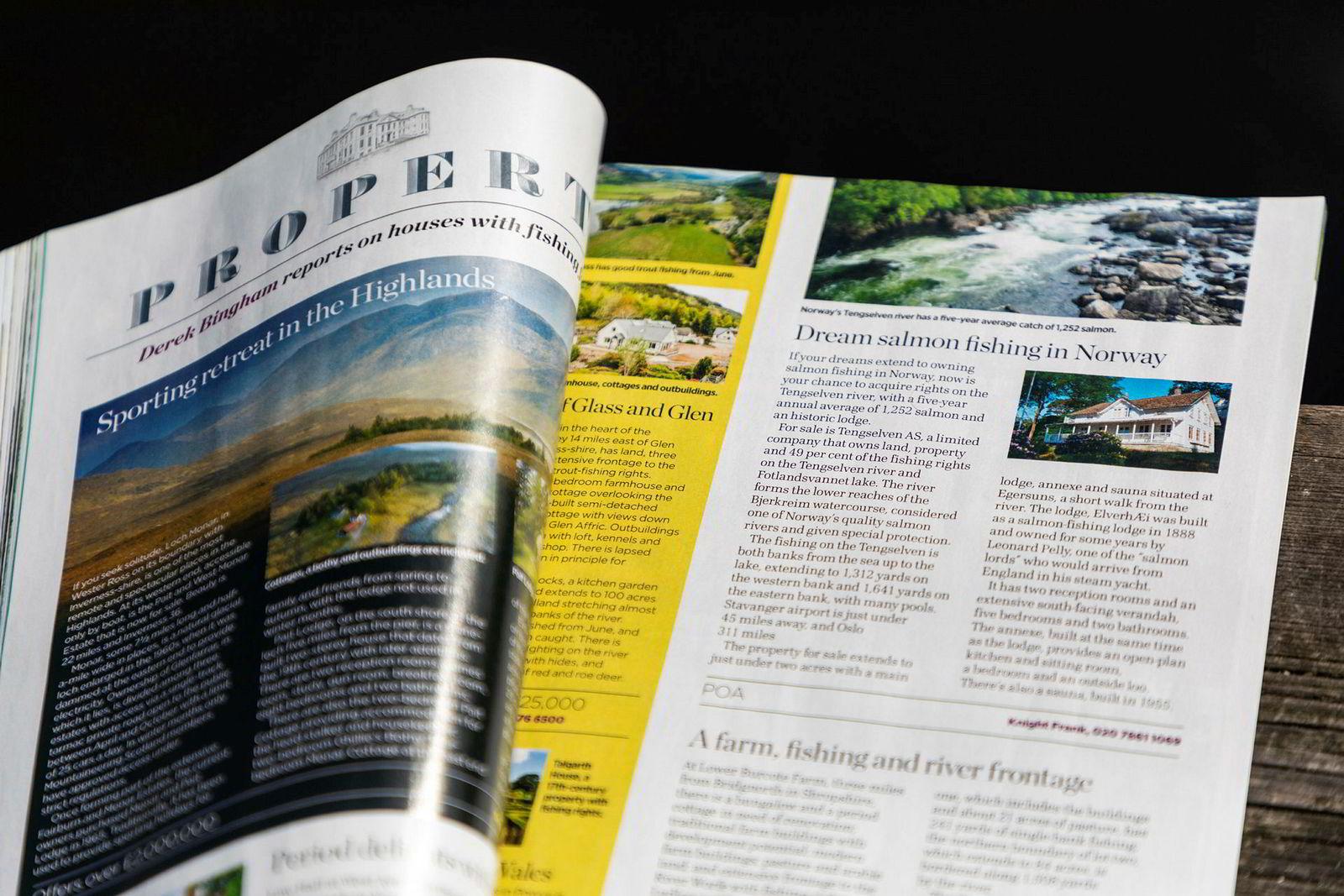 Olsens laksebolig er annonsert i det britiske magasinet Trout & Salmon.