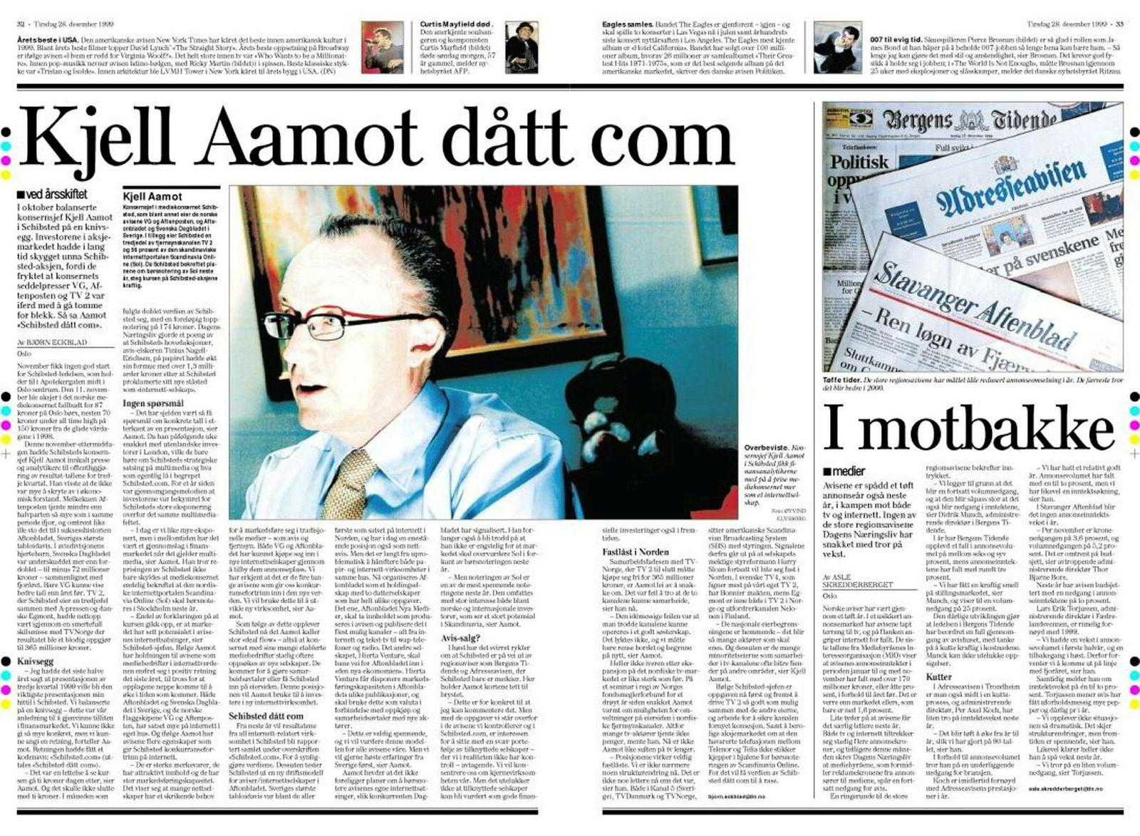 Konsernsjef Kjell Aamot ledet Schibsted gjennom den første fasen av digitaliseringen. DN 28. desember 1999