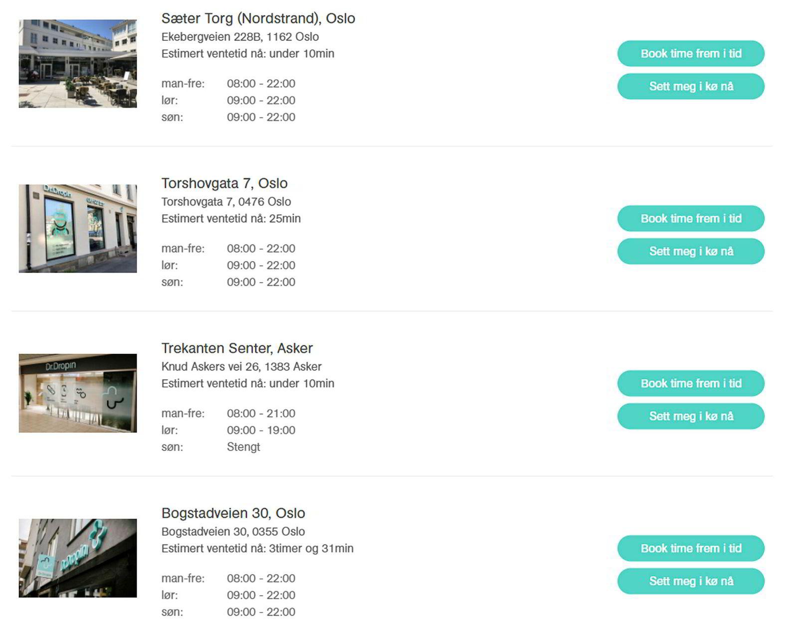 På selskapets nettsider kan du se hvor lang kø det er på de ulike klinikkene.