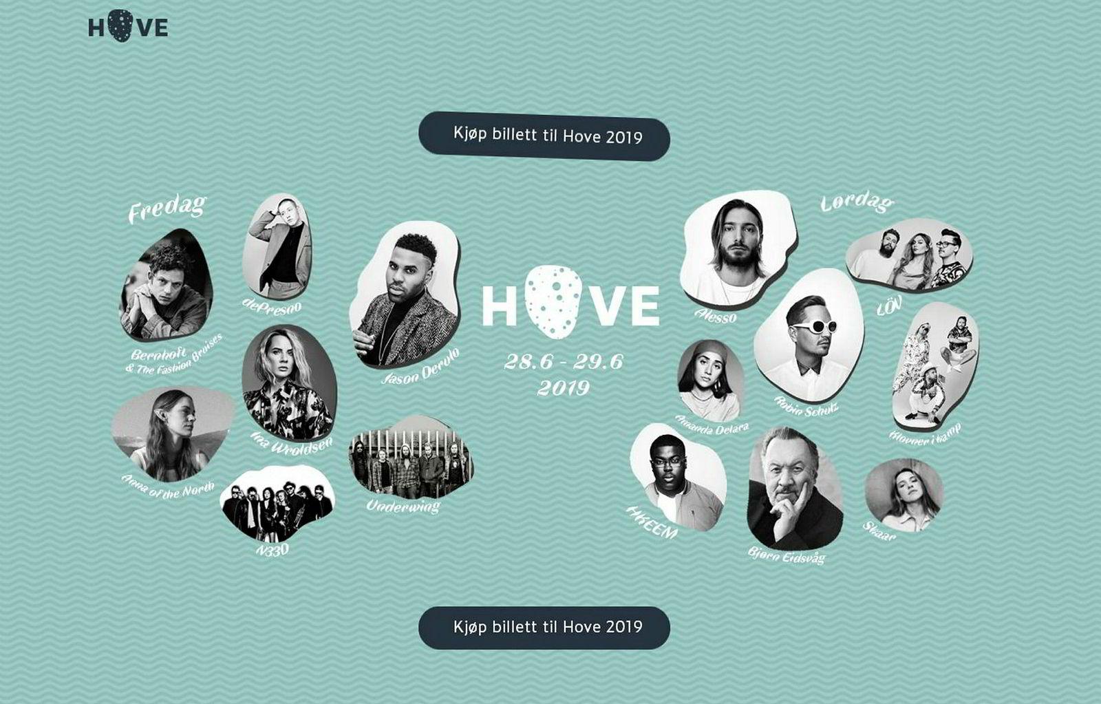 Slik så hjemmesiden ut til Hove Music Festival før den ble stengt og erstattet med en tekst om at den er konkurs.