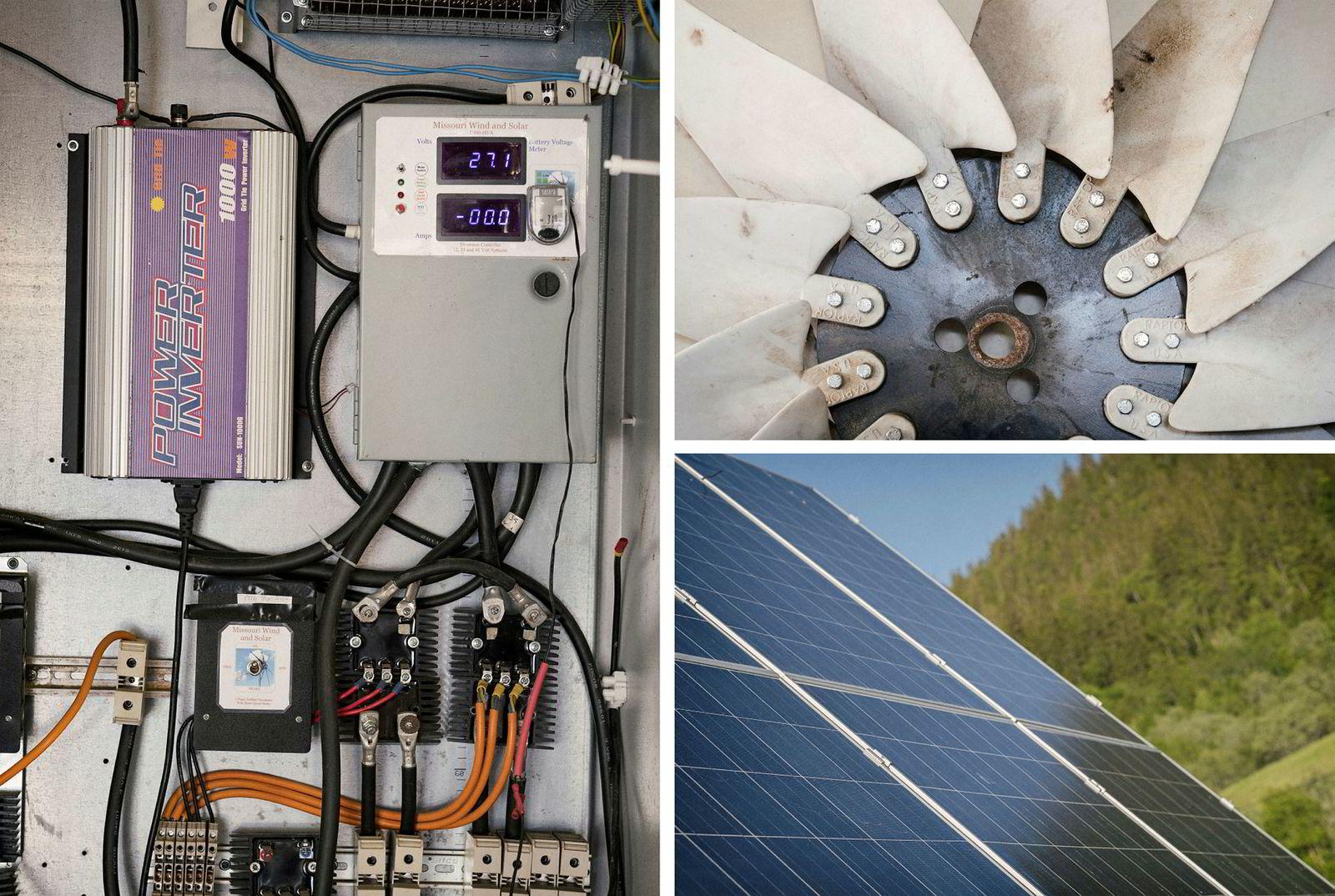 I garasjen finner man hjernen, der blir kraften fra sol og vind til anvendbar strøm.