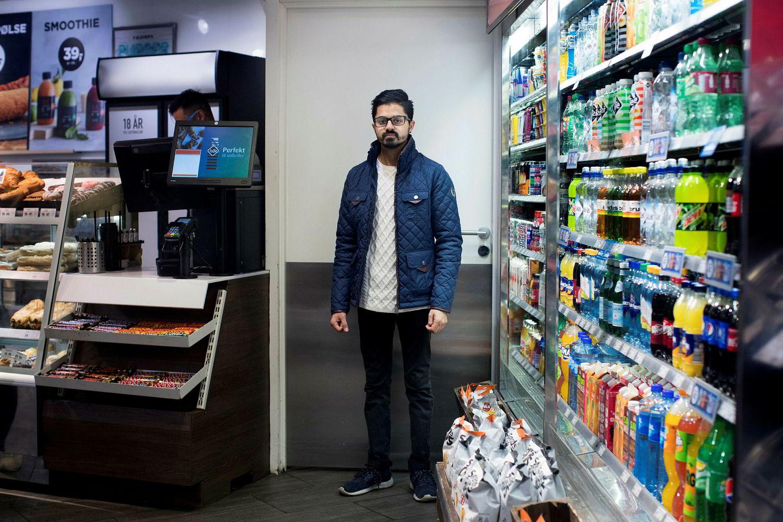 Zeshan Abuzar er butikksjef på 7-Eleven i Gunerius-senteret i Oslo.