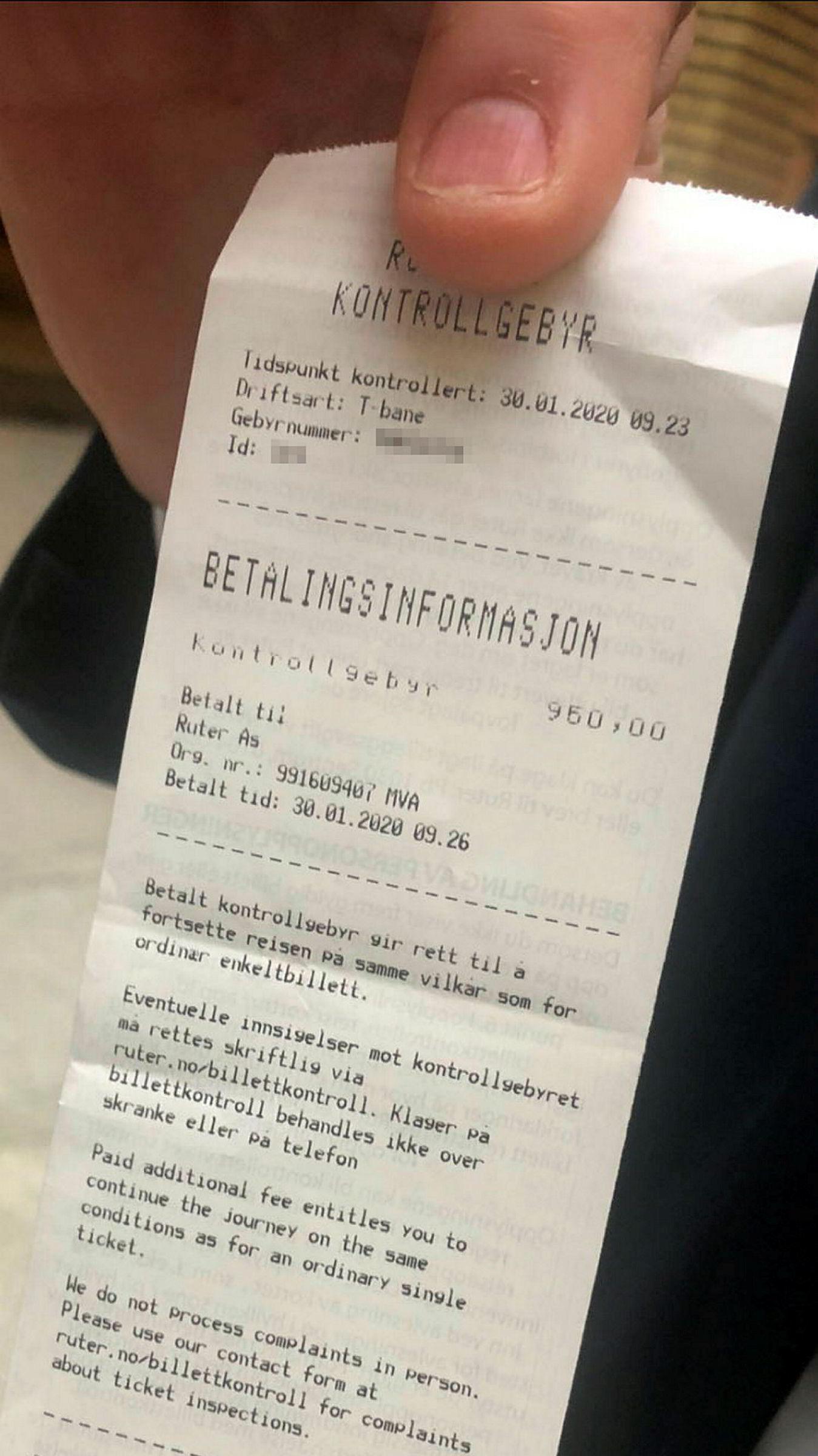 Kontrollgebyr betalt av Jonas Gahr Støre.