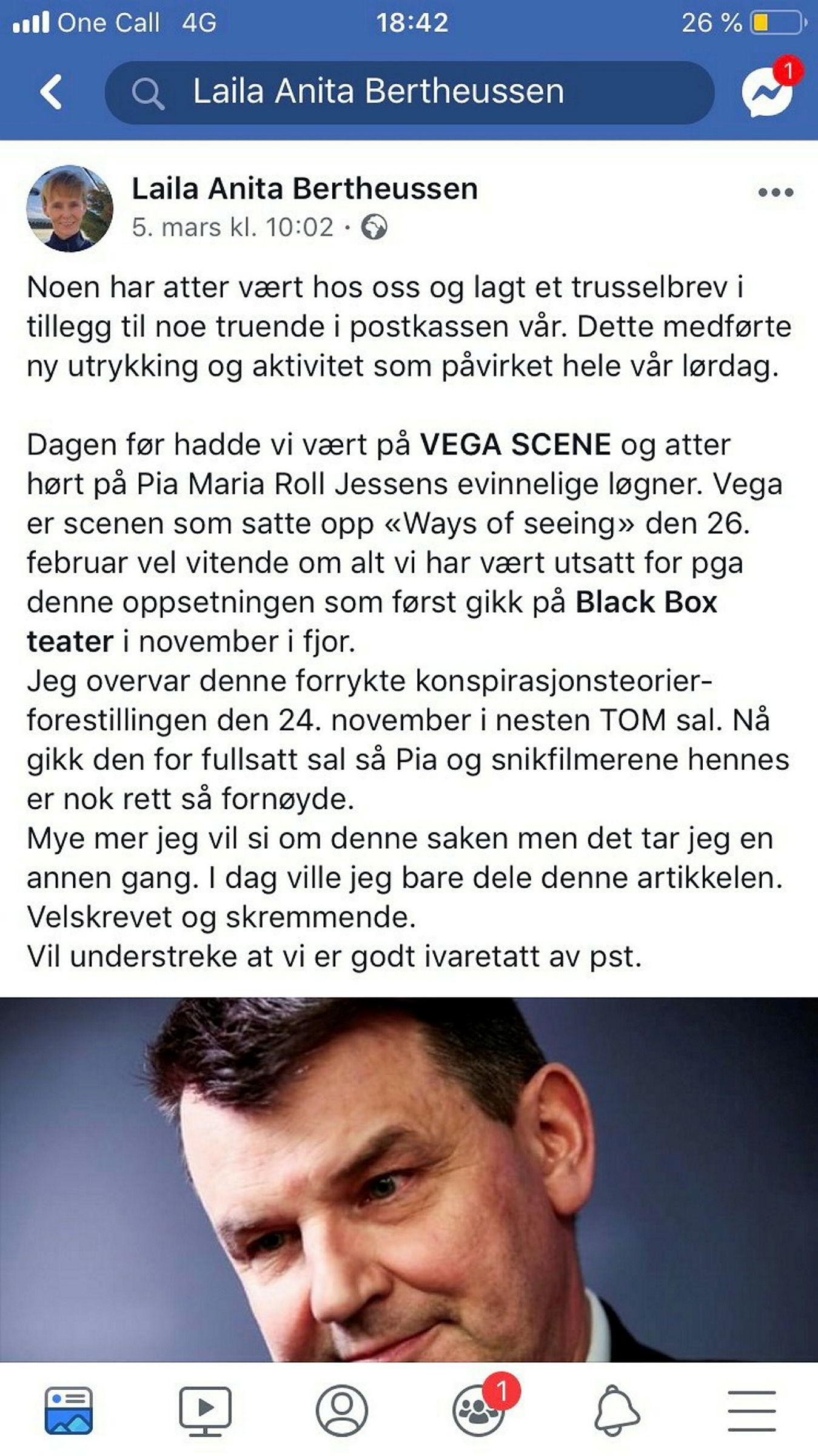 Dette skrev Bertheussen på sin Facebook-profil 5. mars. Innlegget ble torsdag kveld slettet fra hennes profil.