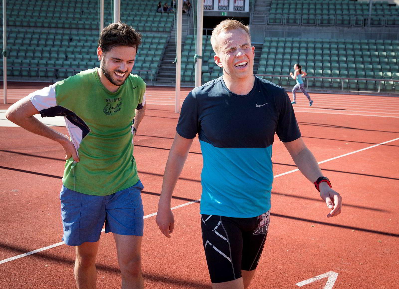 Frederick Salvesen (til høyre) og Justin Burke tok ut alt under intervalltreningen på Bislett.
