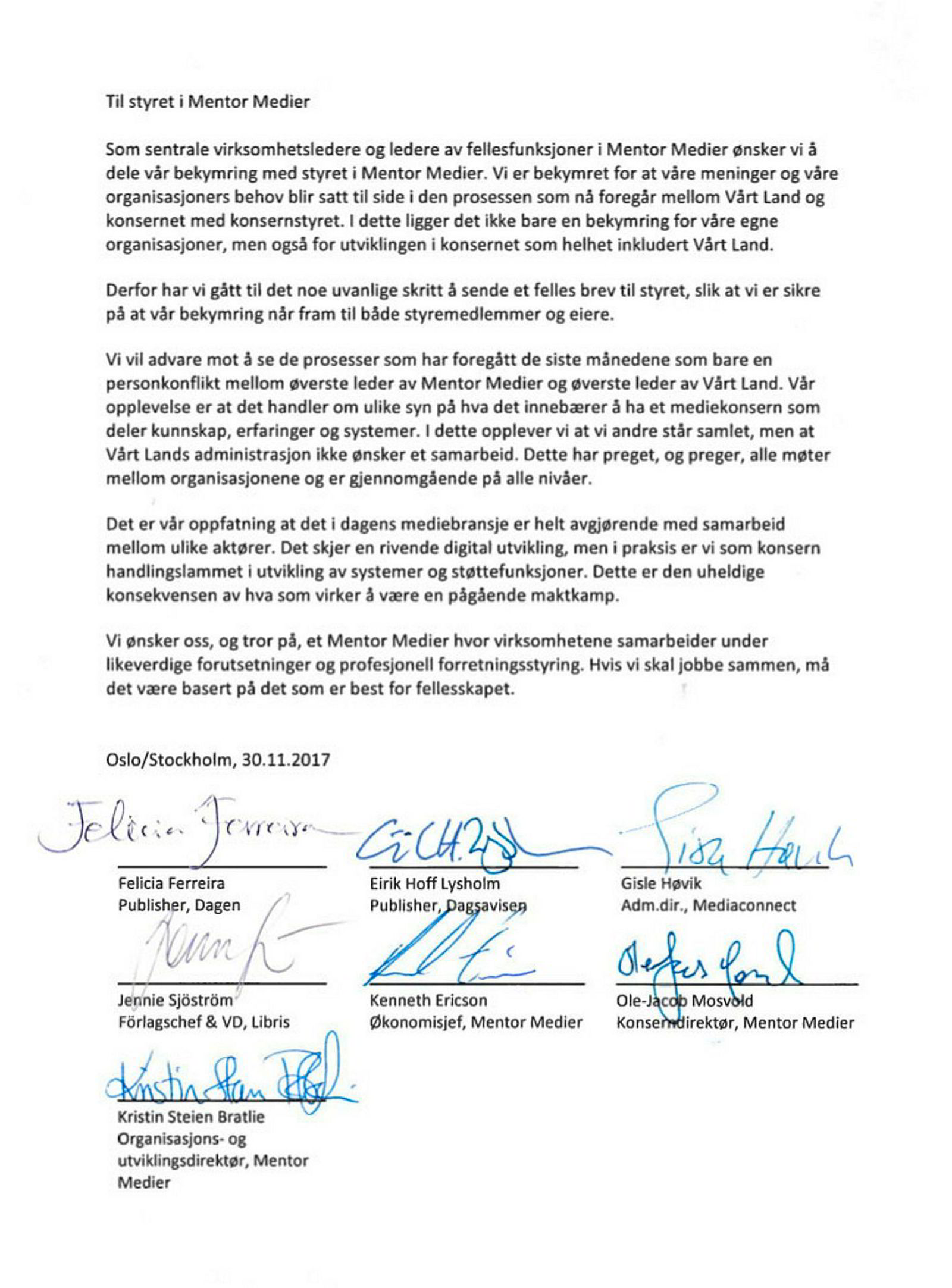 Vårt Land internt signert brev. ---