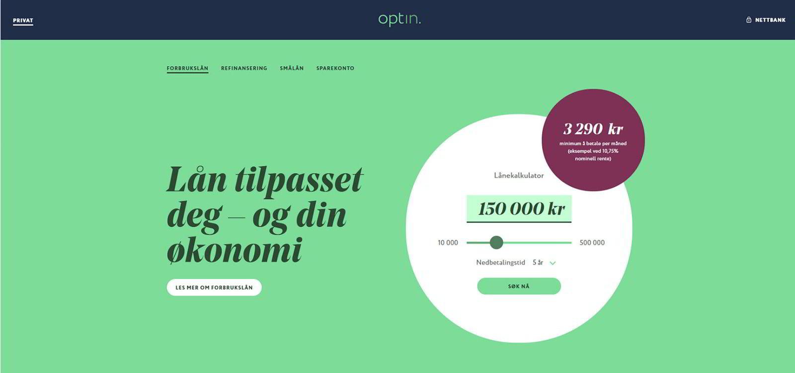 Optin Bank tilbyr forbrukslån og sparekonto gjennom sin nettbank.