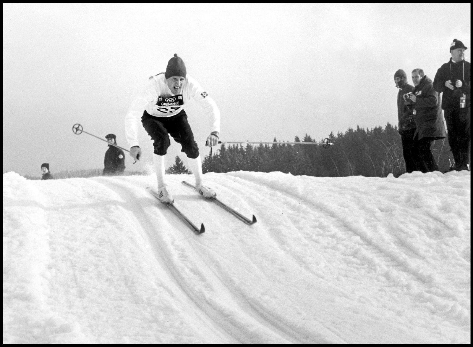 Ole Ellefsæter under aksjon i OL i Grenoble i 1968. Han tok gull både på femmila og i stafett.