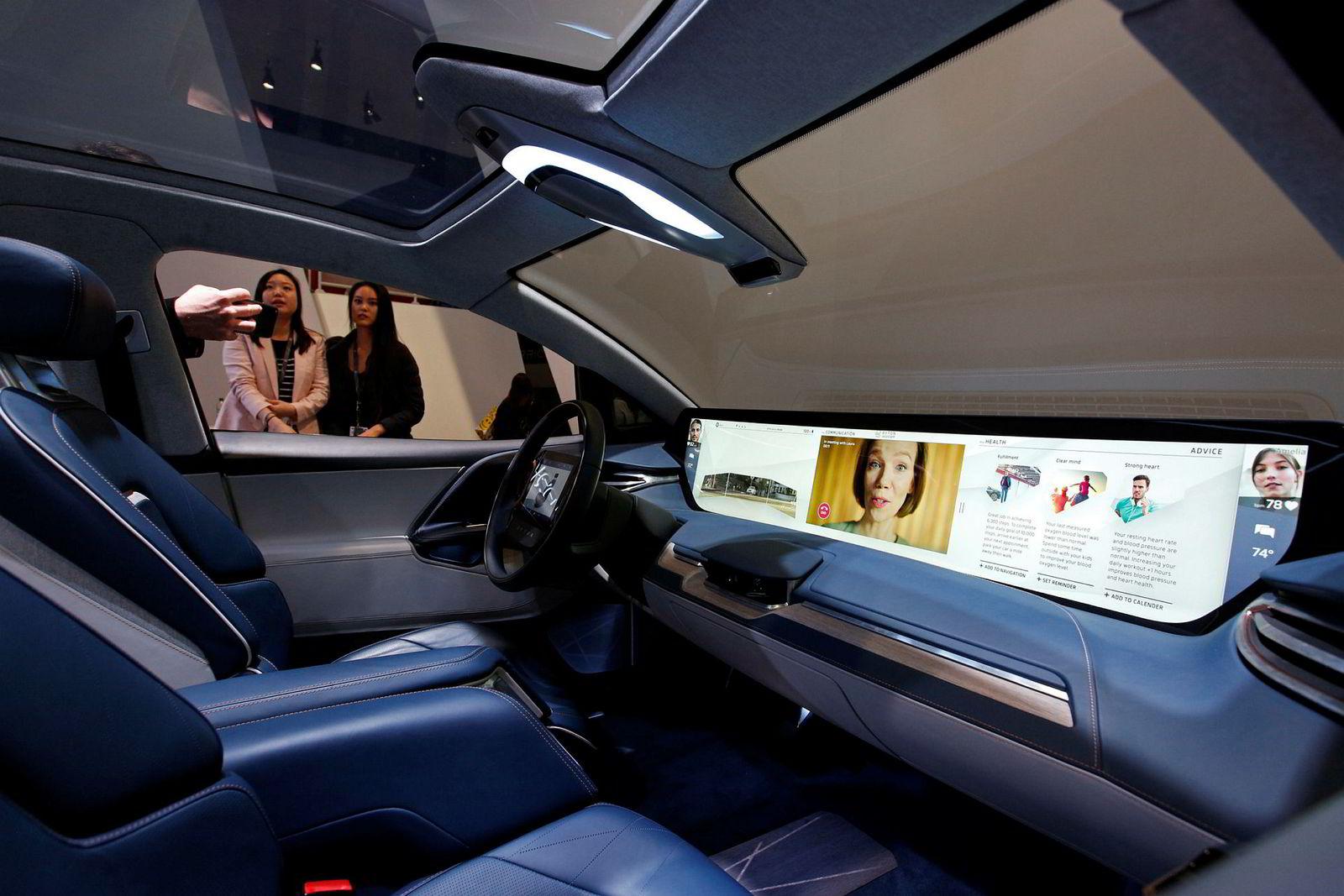 Byton sier bilen er bygget rundt brukeropplevelsen, der denne store skjermen er viktigste aktør.