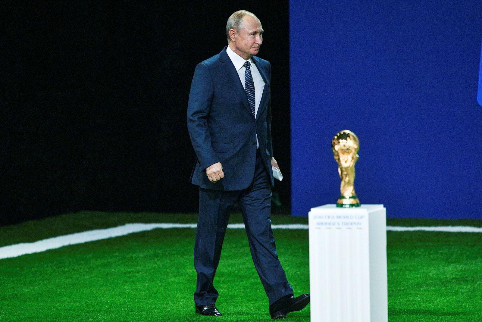 Den russiske presidenten Vladimir Putin under fotball-VM i år.