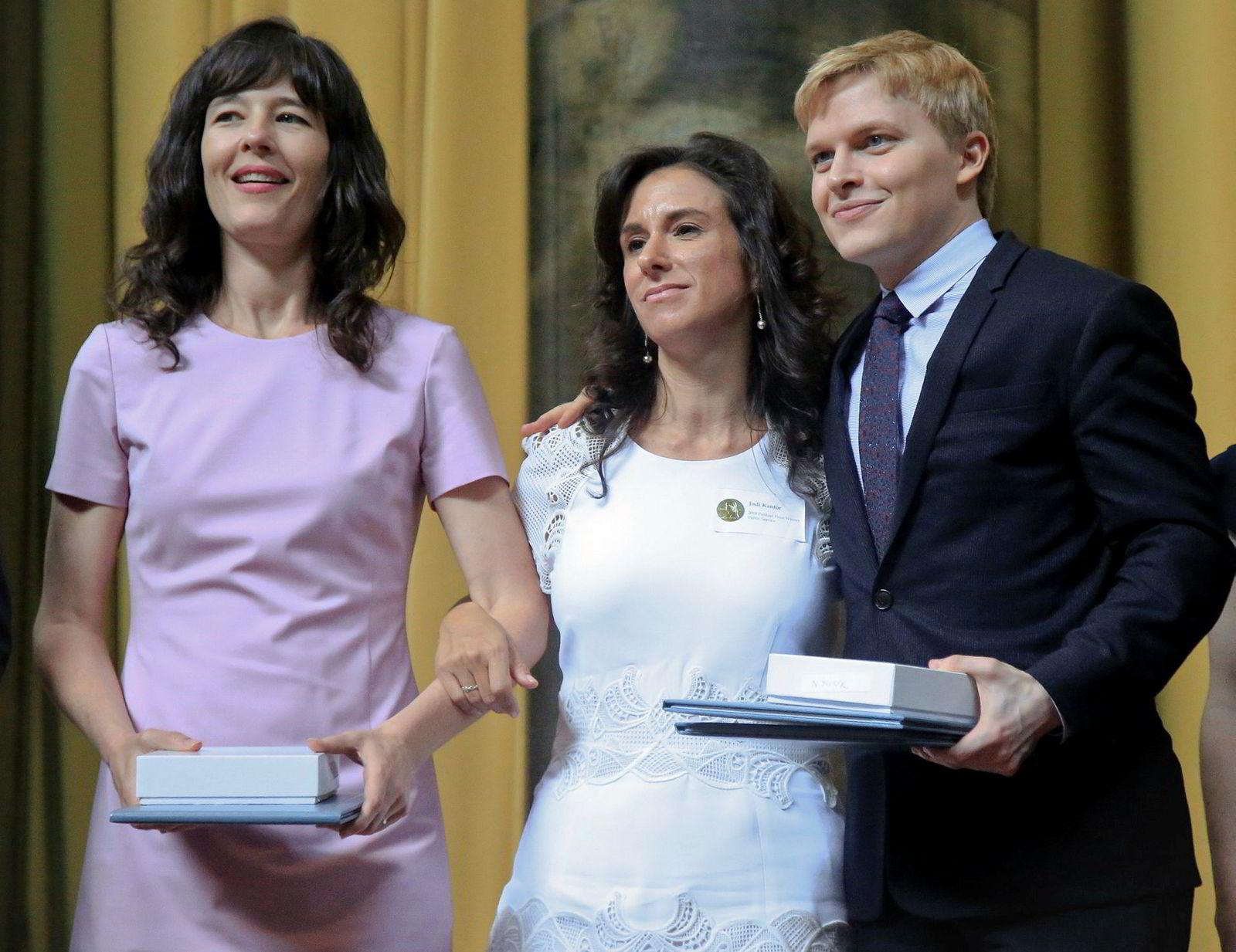 New York Times-journalistene Megan Twohey og Jodi Kantor, og The New Yorker-journalist Ronan Farrow, vant Pulitzerprisen for sakene deres om Harvey Weinstein.