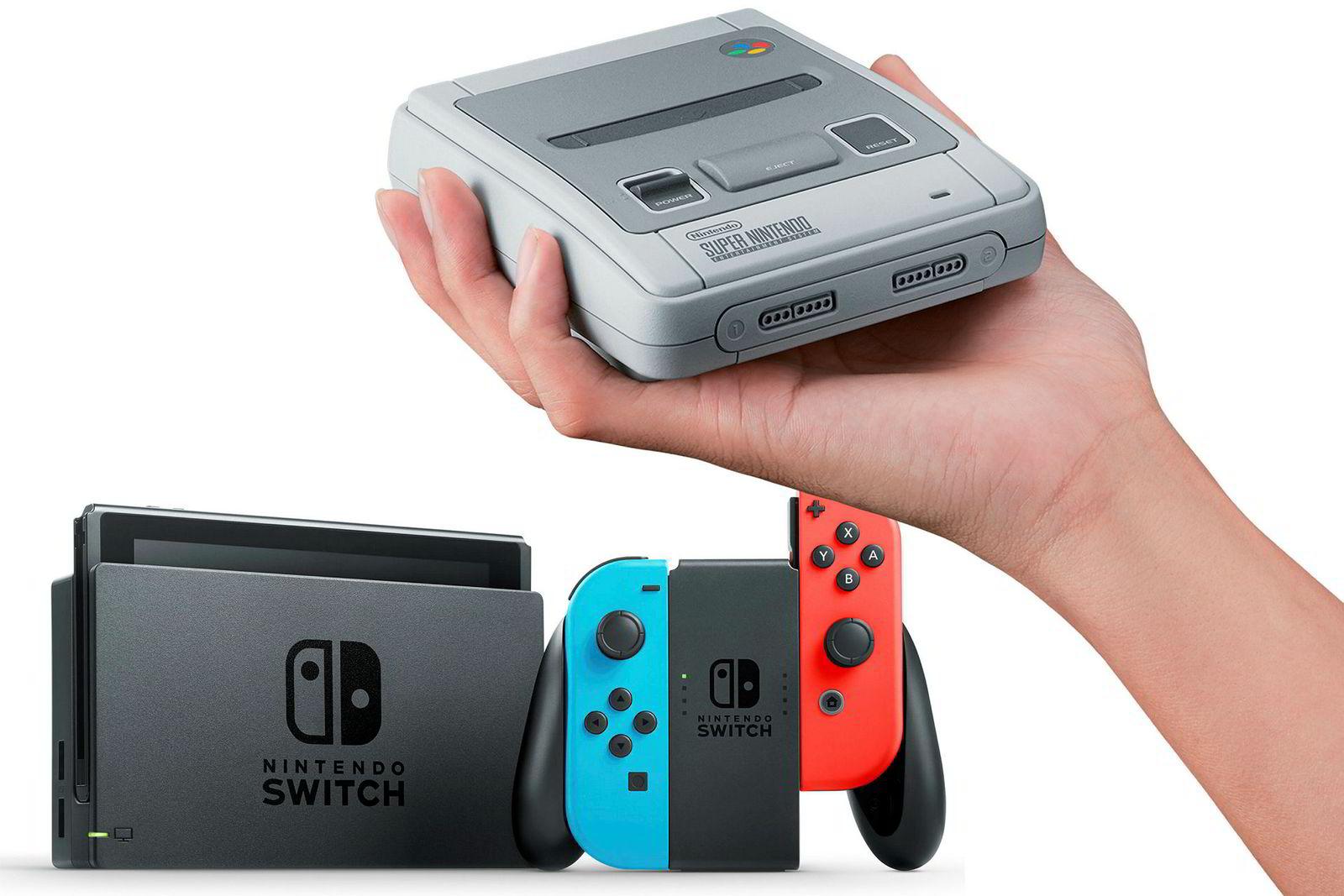 Spillkonsollene Nintendo Switch og Nintendo SNES Classic (øverst) har begge solgt overraskende godt. SNES Classic ble revet bort på et par timer.