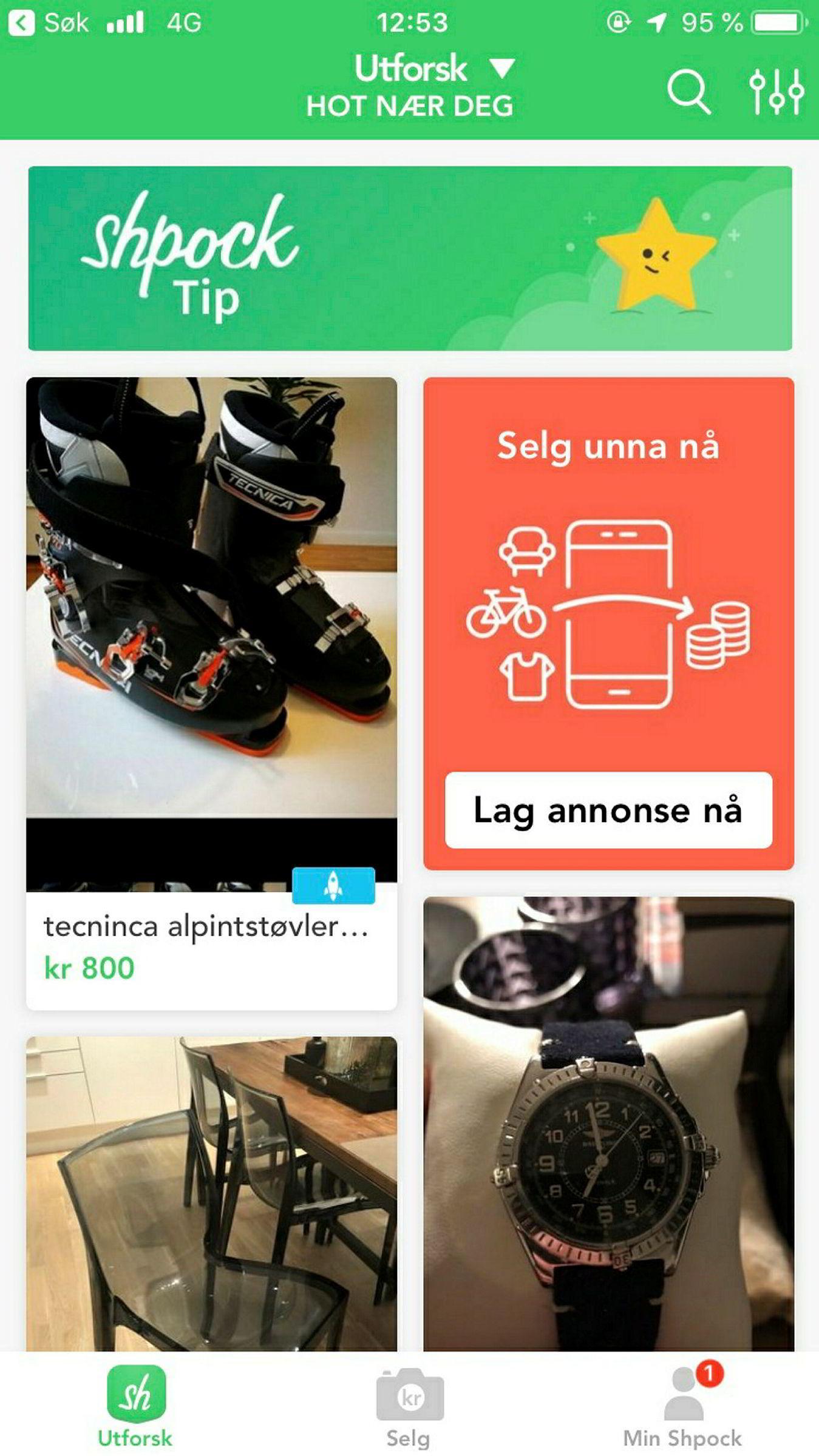 Slik ser Schibsteds loppis-app Shpock ut.