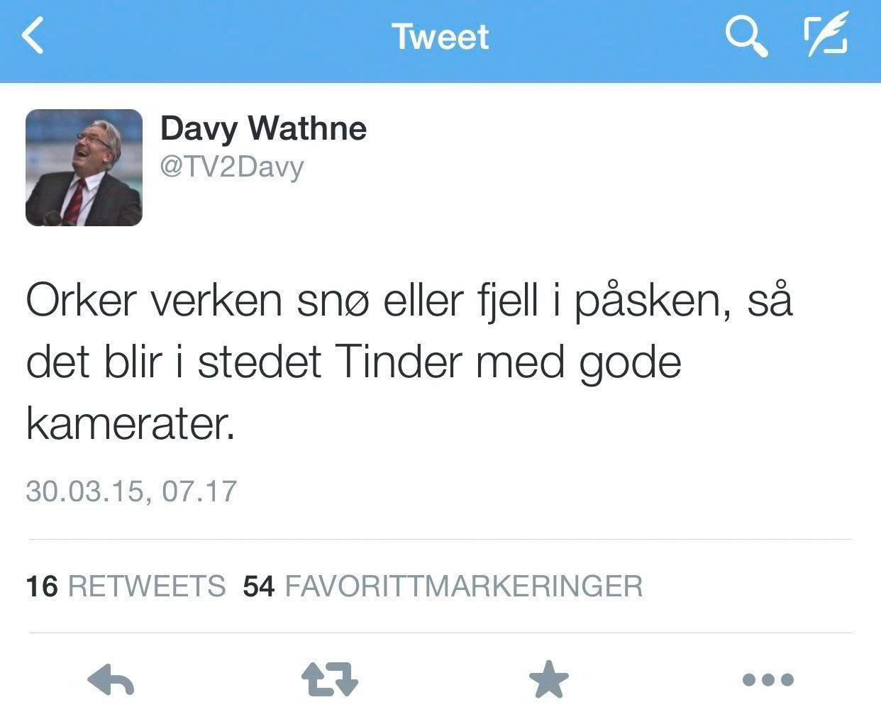 Velger dating-app over hytteliv. Kilde: Davy Wathnes Twitter-profil