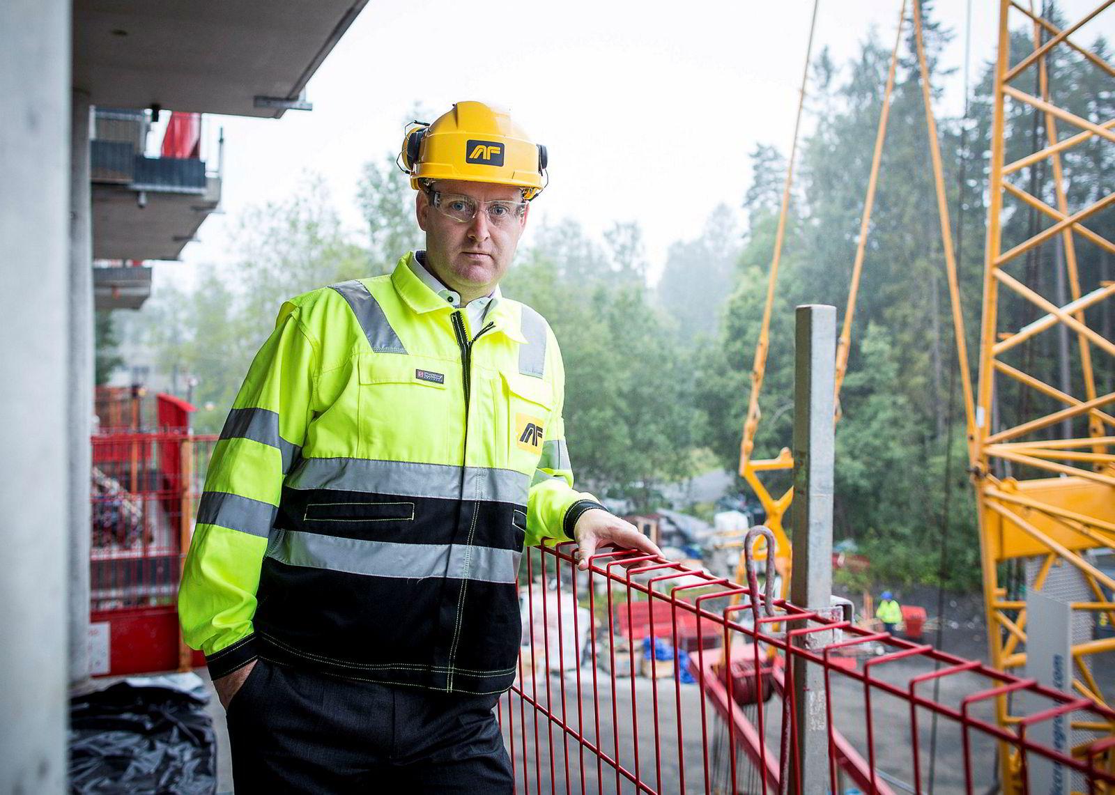 – Som en norsk entreprenør begynner vi å bli en betydelig aktør, sier konsernsjef Morten Grongstad i AF Gruppen. Her fra et tidligere byggeprosjekt i Lørenskog.