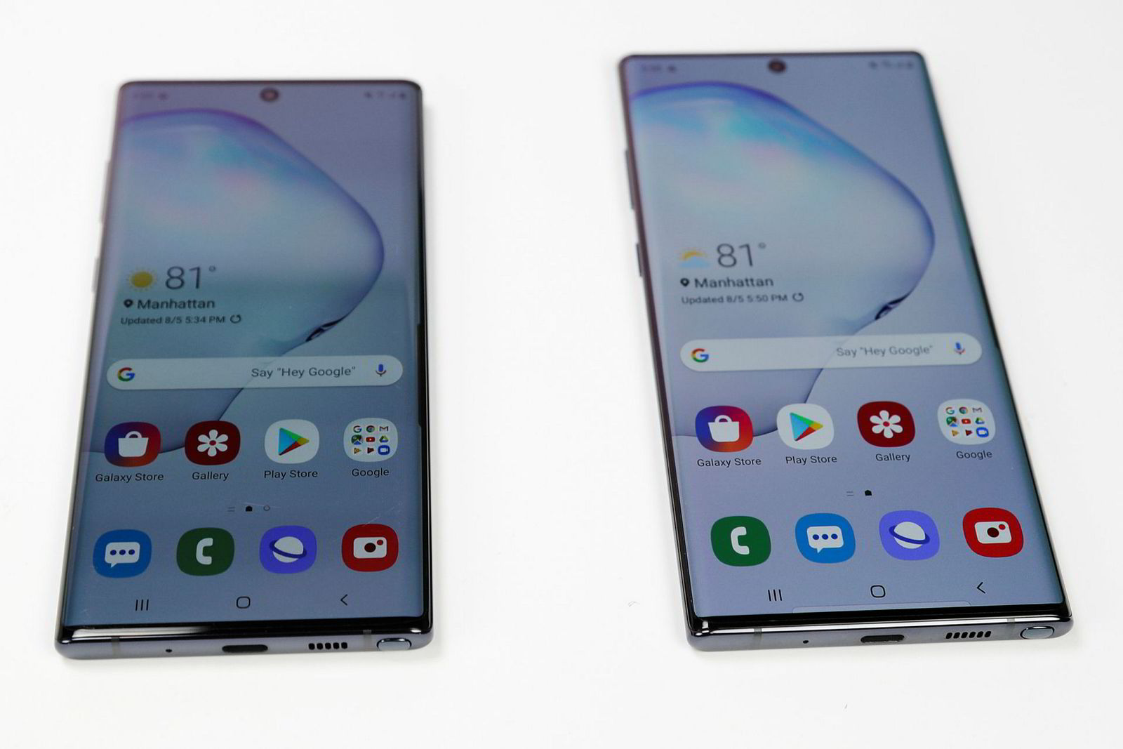 Samsung Galaxy Note 10 og Note 10+.