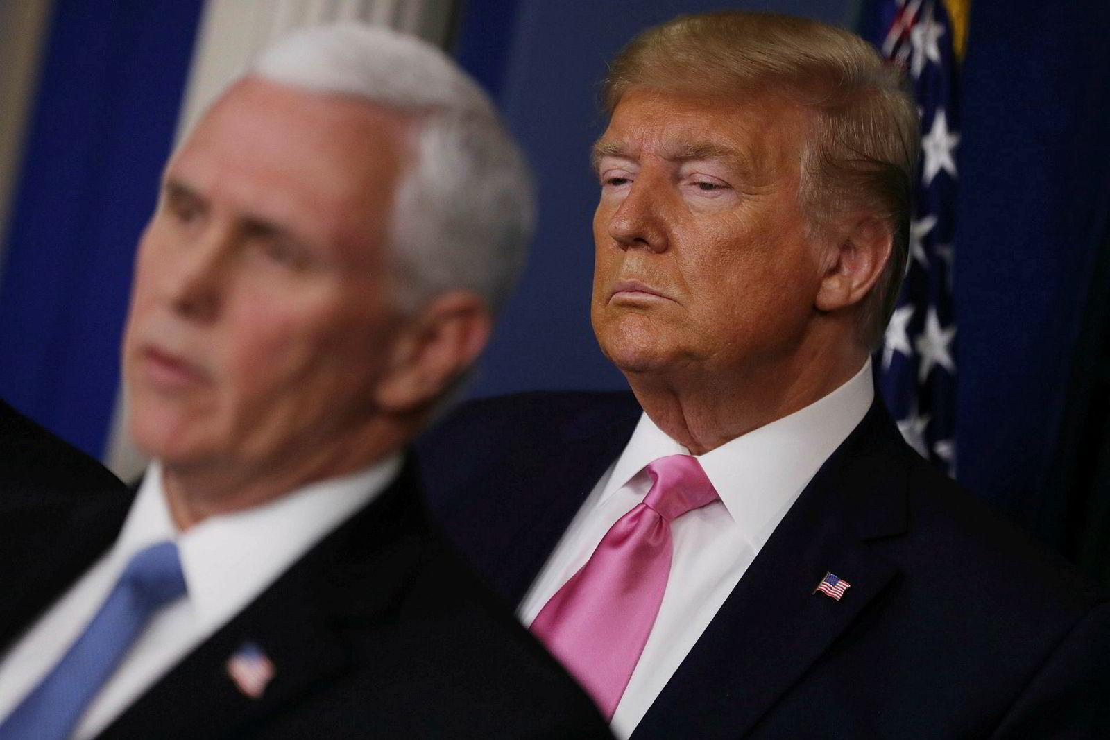 President Donald Trump på en pressekonferanse torsdag der han utnevnte visepresident Mike Pence til å lede arbeidet med koronaviruset.