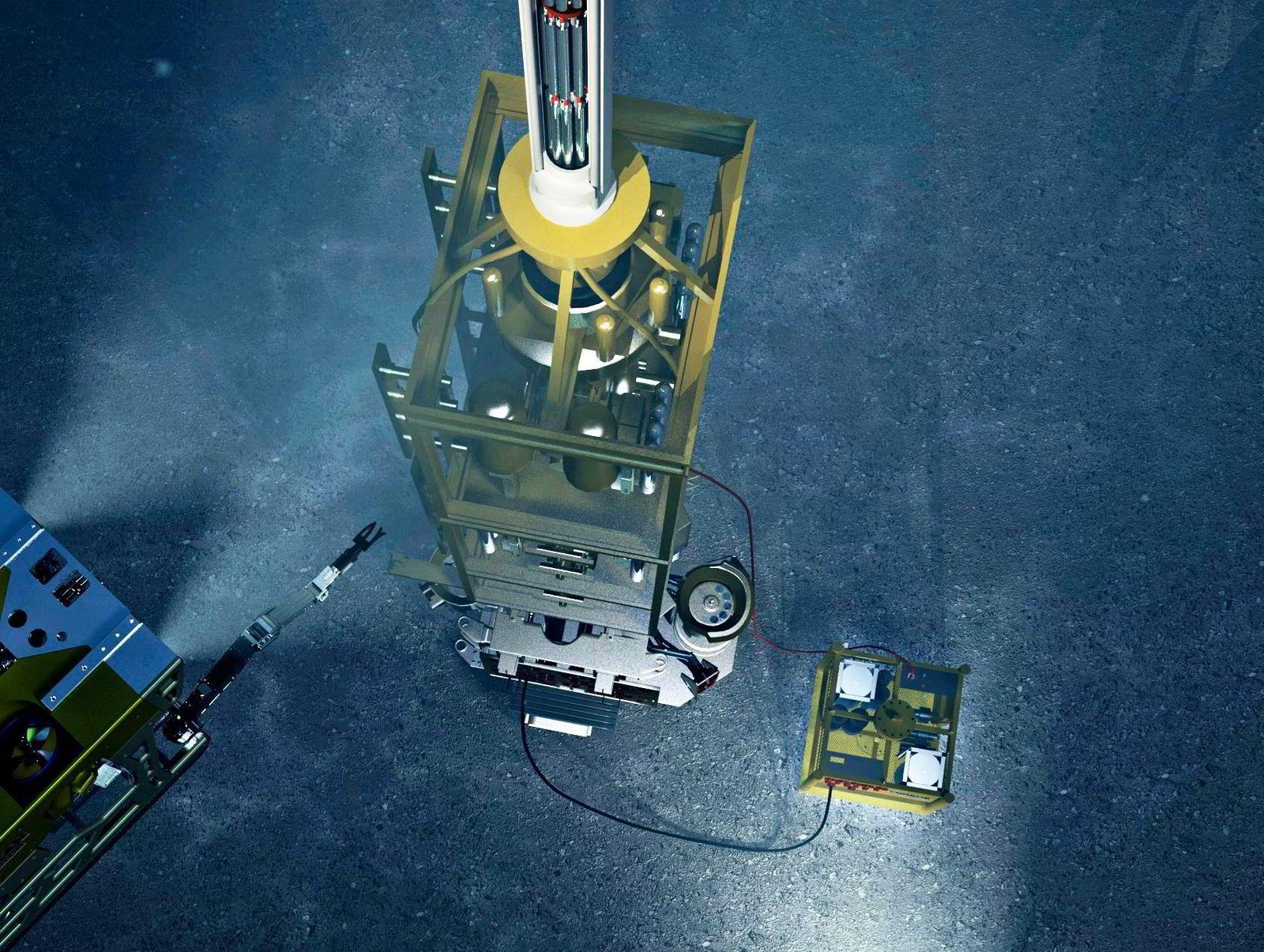 Konseptskisse av Optimes løsning for installasjon av undervannsbrønner.