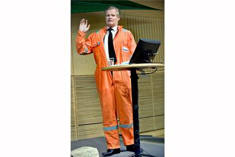 2009. Tor Olav Trøim demonstrerer operativt lederskap på Næringsdeparte- mentets eierskapskonfer- anse i 2009.