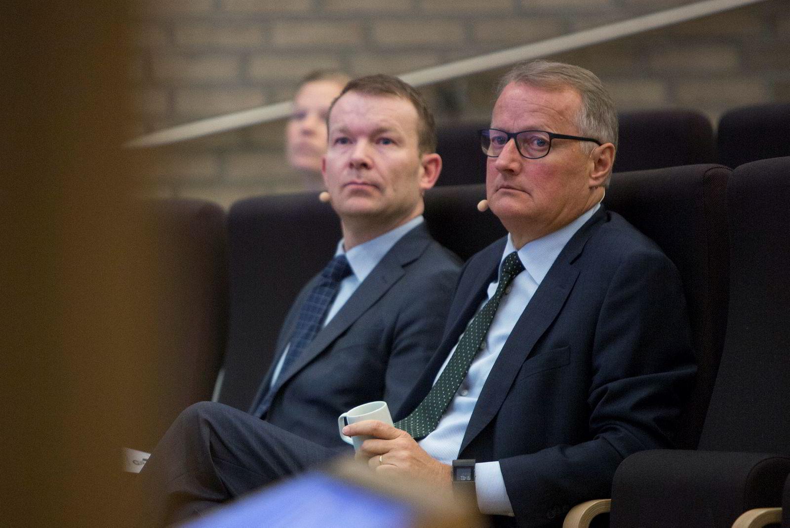 Konserndirektør Thomas Midteide (t.v.) og konsernsjef Rune Bjerke, DNB.