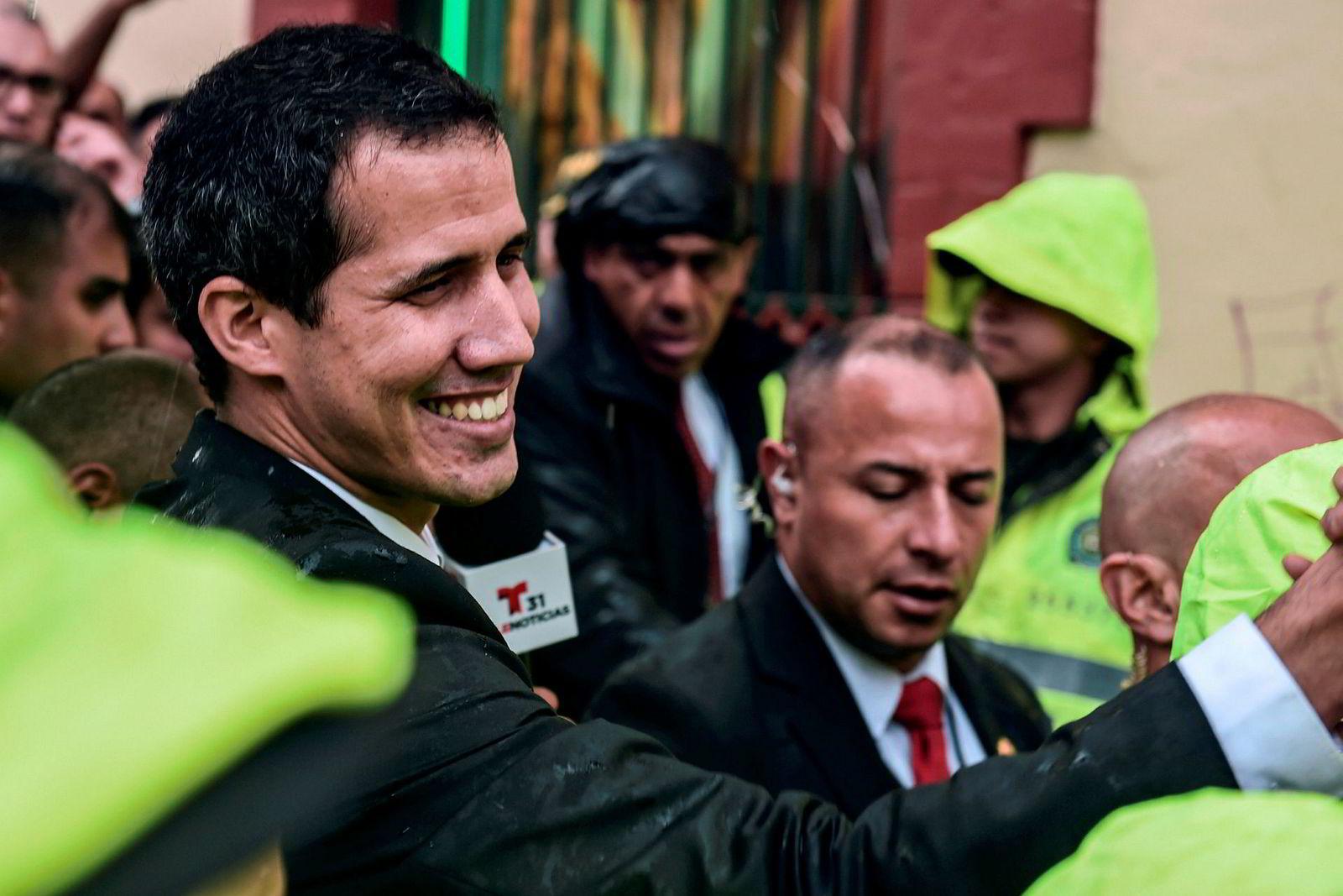 Opposisjonslederen Juan Guaidó i Colombias hovedstad Bogotá denne uken.
