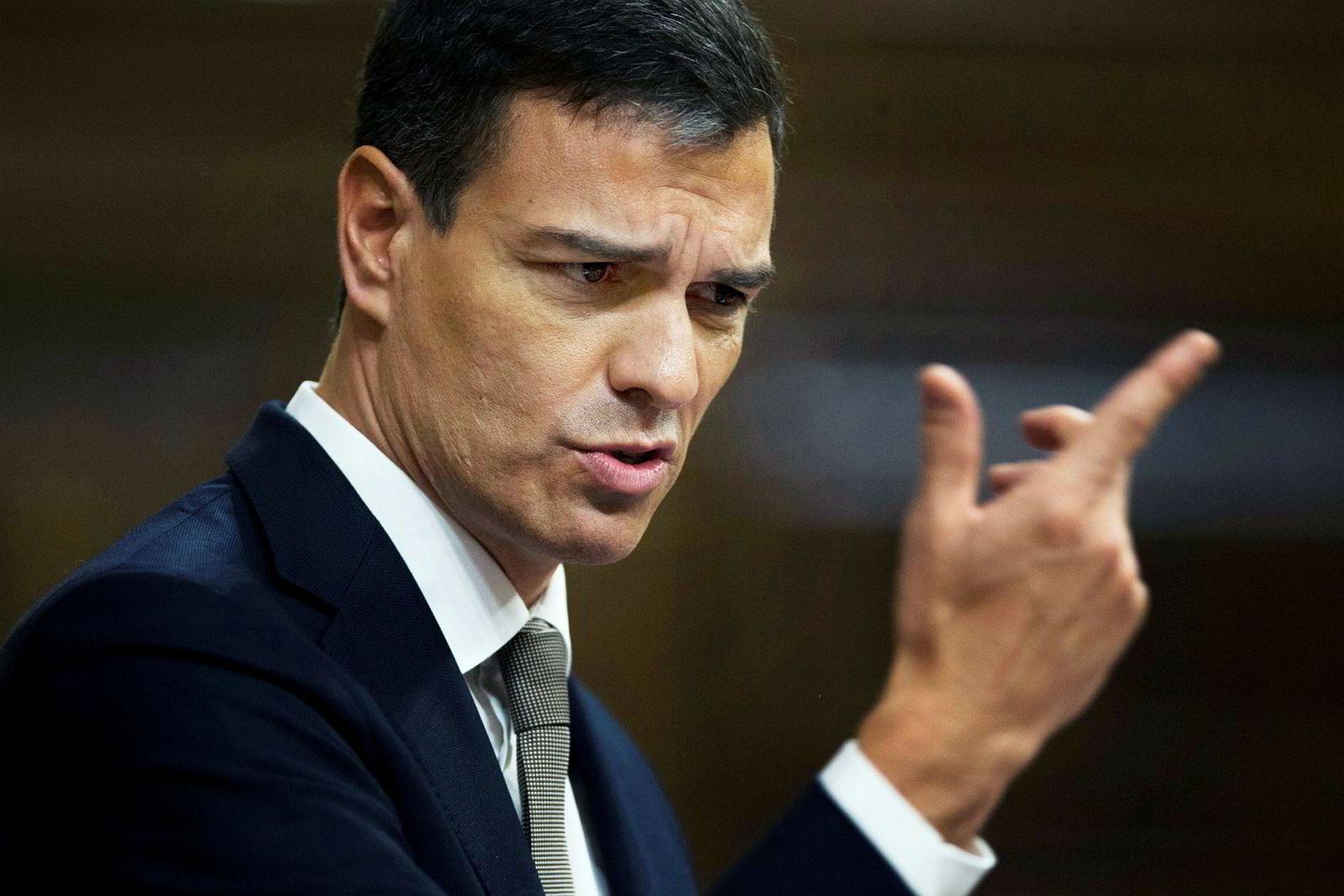Pedro Sanchez, leder for sosialdemokratene (PSOE), håper å bli ny statsminister. Her da han kunngjorde mistillitsforslaget mot regjeringen Rajoy.
