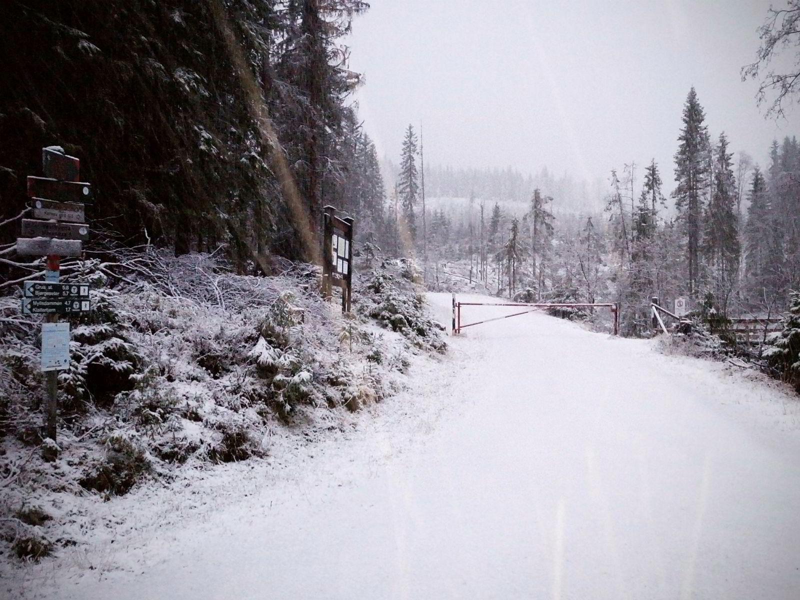 Marka tidlig snø. Nordmarka fikk de første centimeterne med snø tirsdag. Her fra det kjente utgangspunktet Svartbekken.