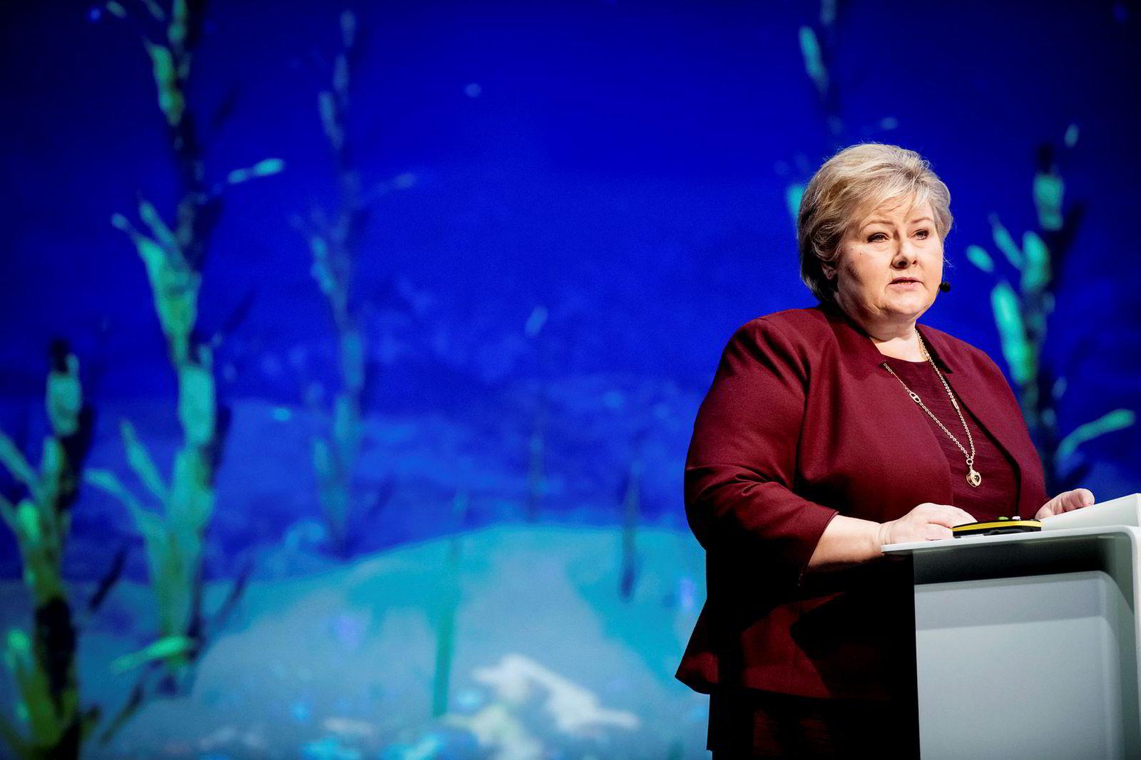 Statsminister Erna Solberg åpnet DNs Hav-konferanser på operaen i Oslo.