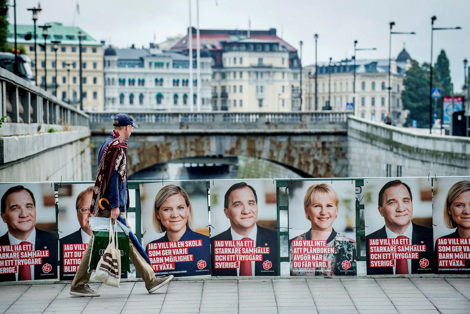 Søndag 9. september 2018 er det riksdagsvalg i Sverige. Her valgplakater for statsminister Stefan Löfven fra Socialdemokraterna ved Riksdagen.