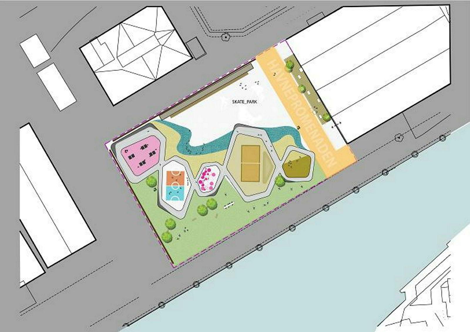 Her er et forslag til hvordan aktivitetsparken på Filipstad skal se ut.
