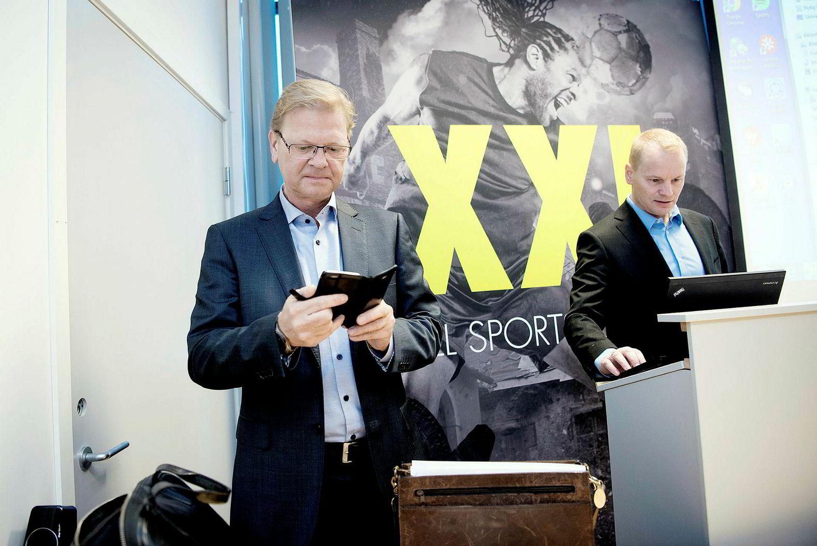 XXL-aksjen fikk en smell på børsen etter at XXL-sjef Fredrik Steenbuch og finansdirektør Krister Pedersen la frem resultatene for første kvartal onsdag. Arkivfoto