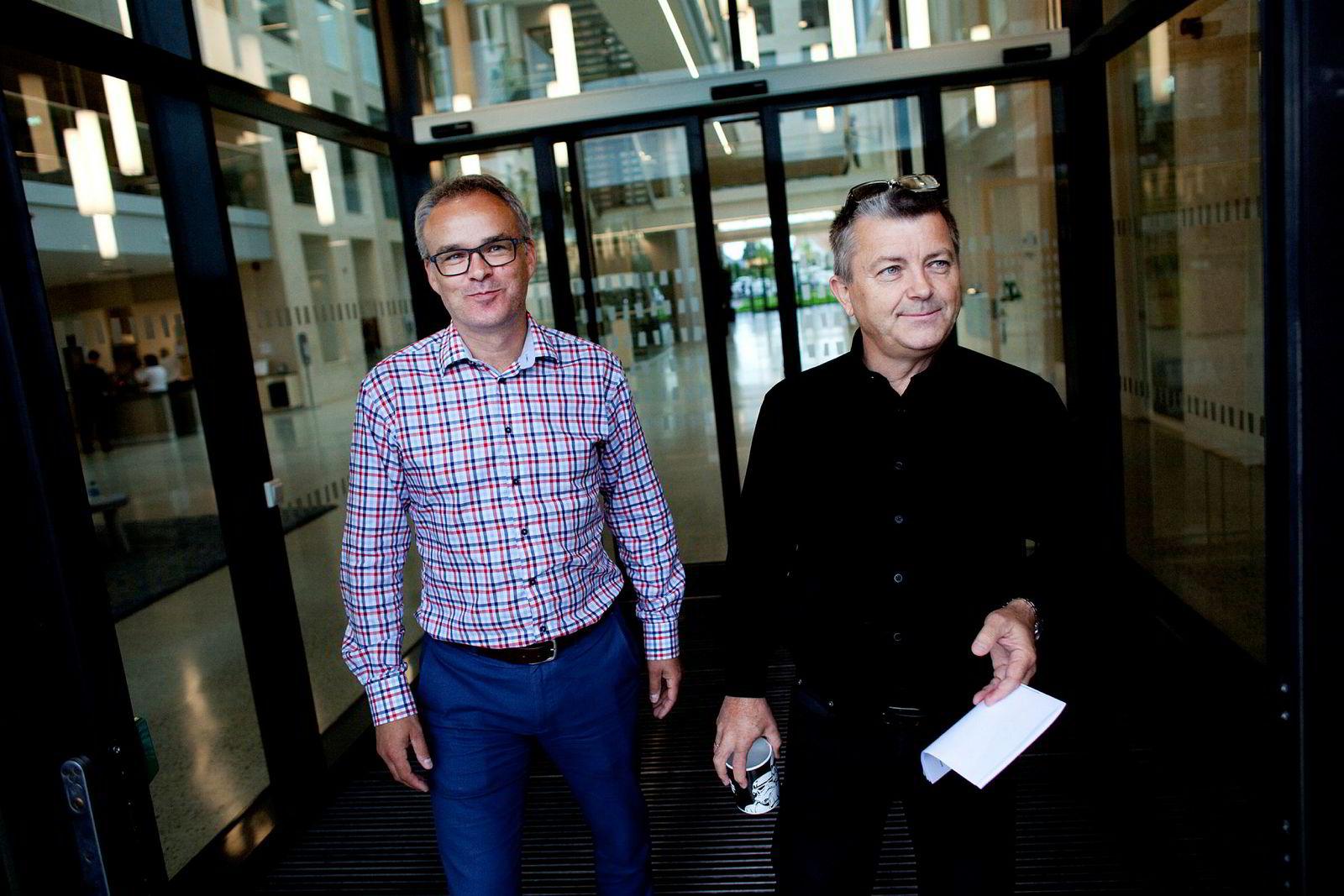 Daglig leder Per Ove Skorpen og majoritetseier og styreleder Lars Helge Helvig (til høyre) rapporterte 317 millioner kroner i årsoverskudd i Norsk Vind Energi i 2018.