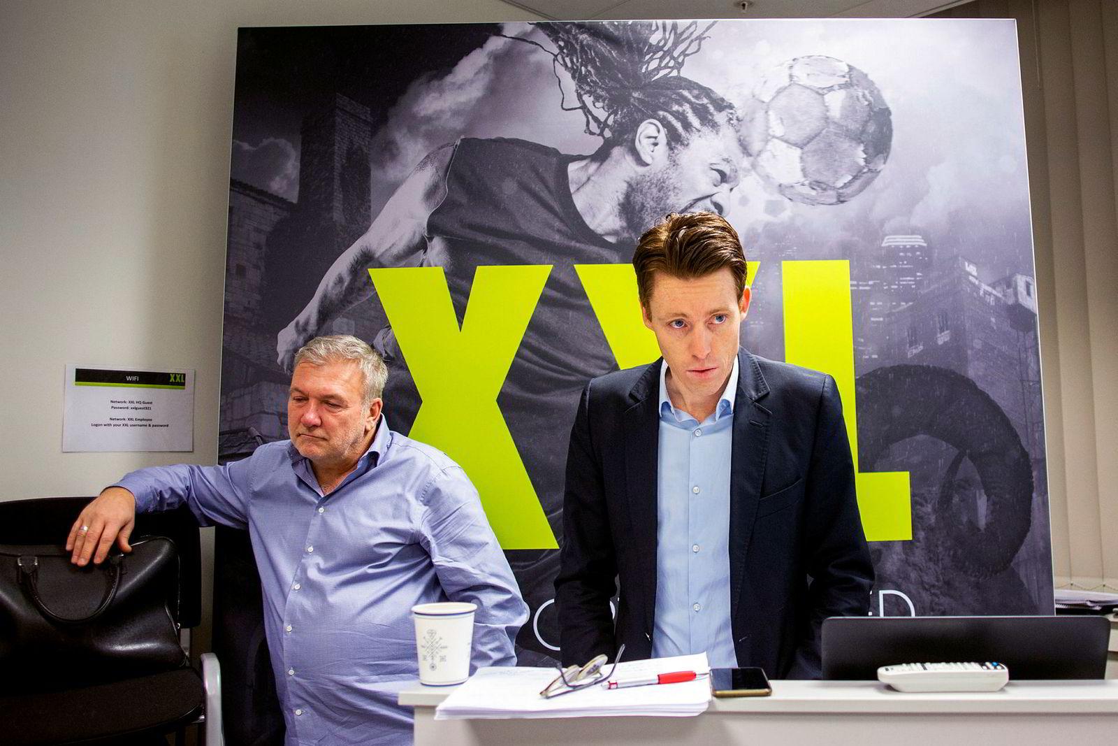XXL-sjef Tolle O.R. Grøterud (t.h.) og styreleder og XXL-gründer Øivind Tidemandsen.