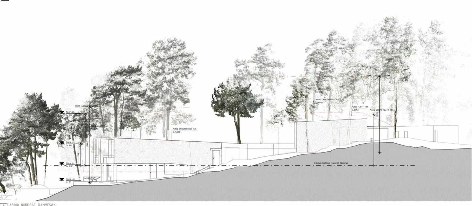 Tegningen fra Lund Hagem Arkitekter viser nord-østfasaden på prosjektet, som har fått navnet «Villa Winge». Hoveddelen er til venstre, med fasade mot vannet, mens delen til høyre ligger litt høyere og skal ha utsikt over. Mellom de to delene er det en uteplass som skjules fra denne vinkelen av en korridor, som kobler delene sammen. Røde stiplede linjer som knapt synes her, viser at reguleringen ville tillatt høyere bygg. Mange trær skal bevares.