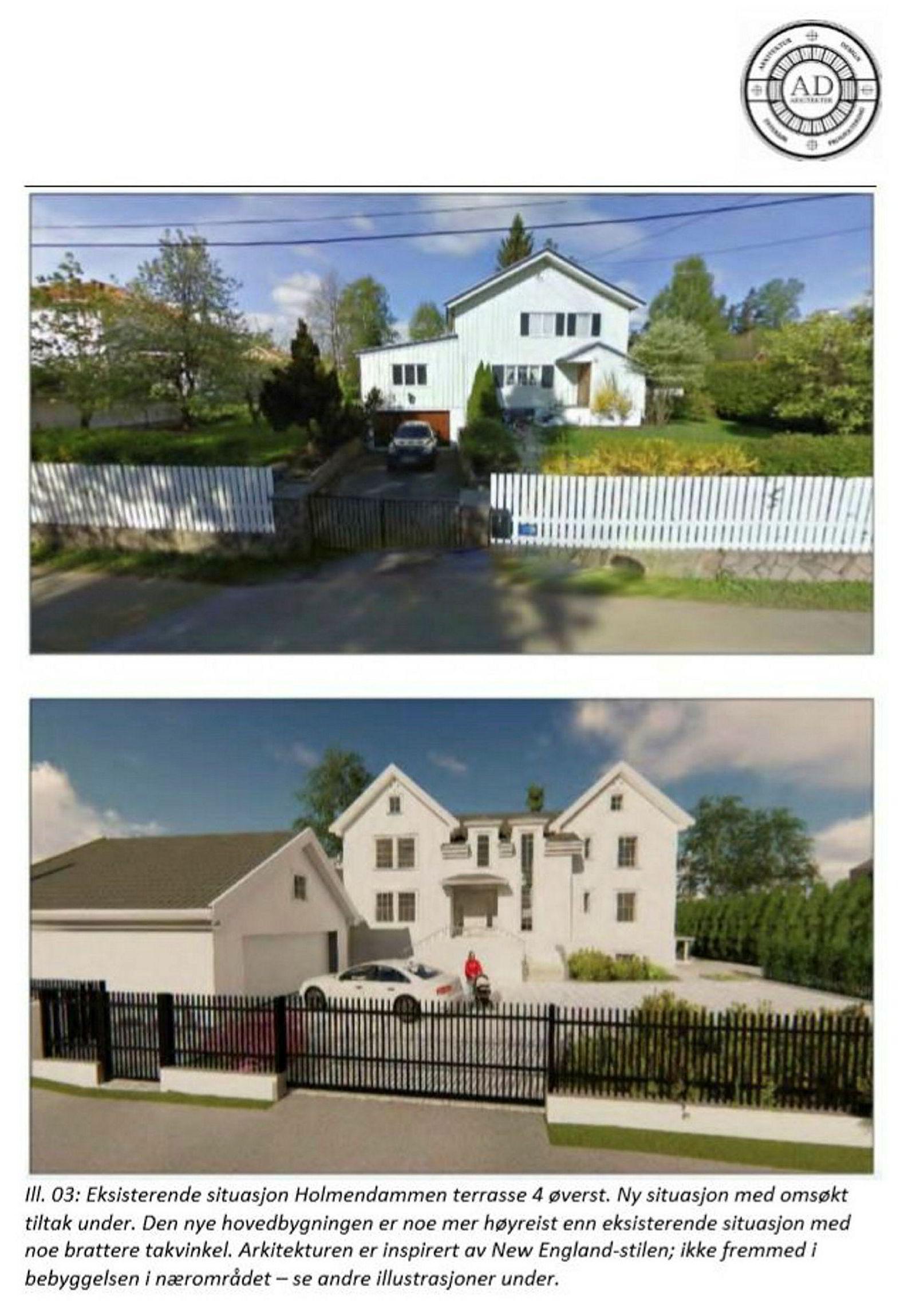 Suzann Pettersens nye bolig vil passe godt inn i boligstrøket, skriver arkitektene i byggesøknaden.