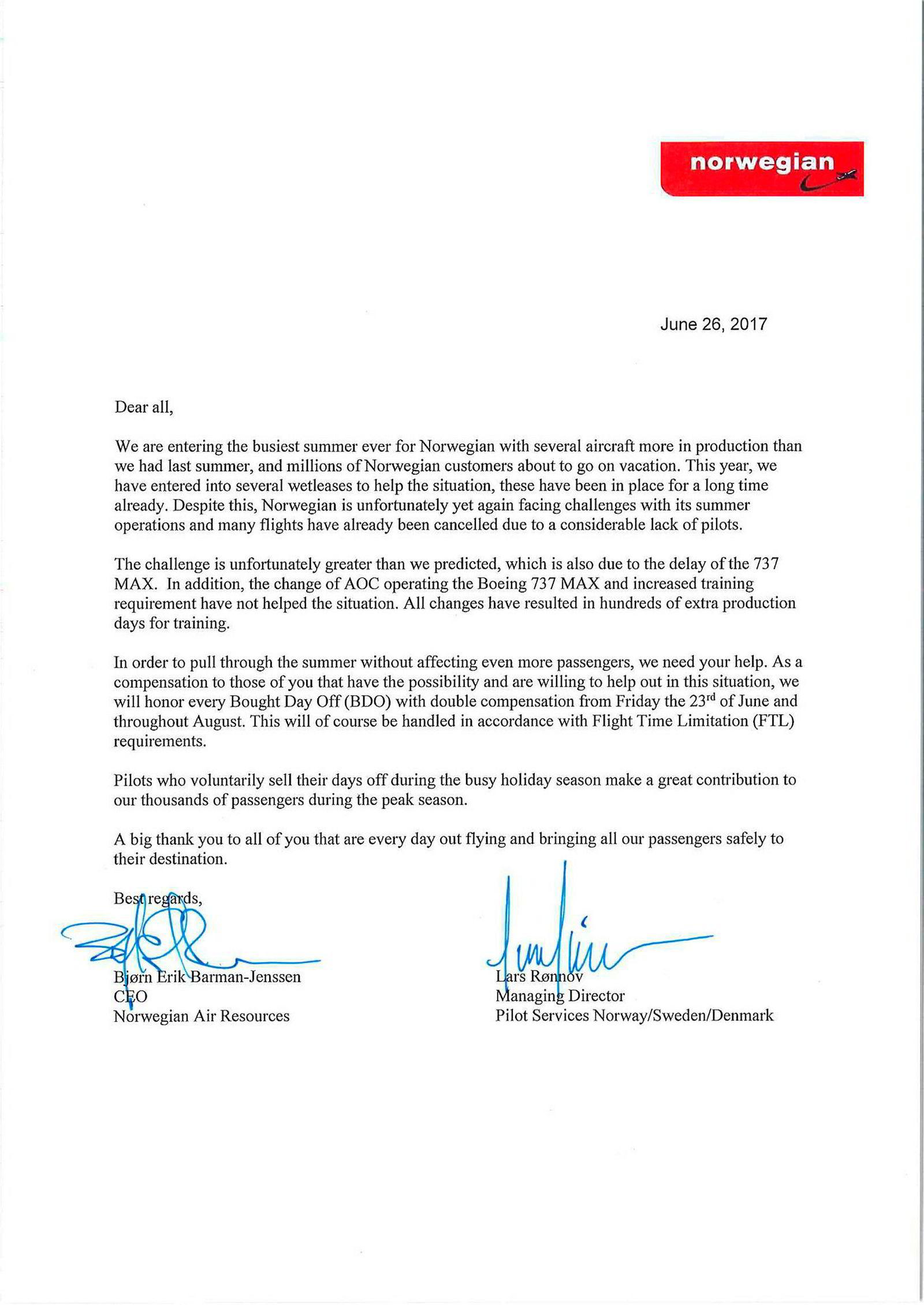Dette er brevet fra Norwegian til pilotene mandag.