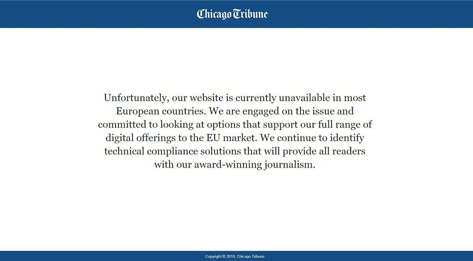 Chicago Tribune blokkerer europeiske brukere.