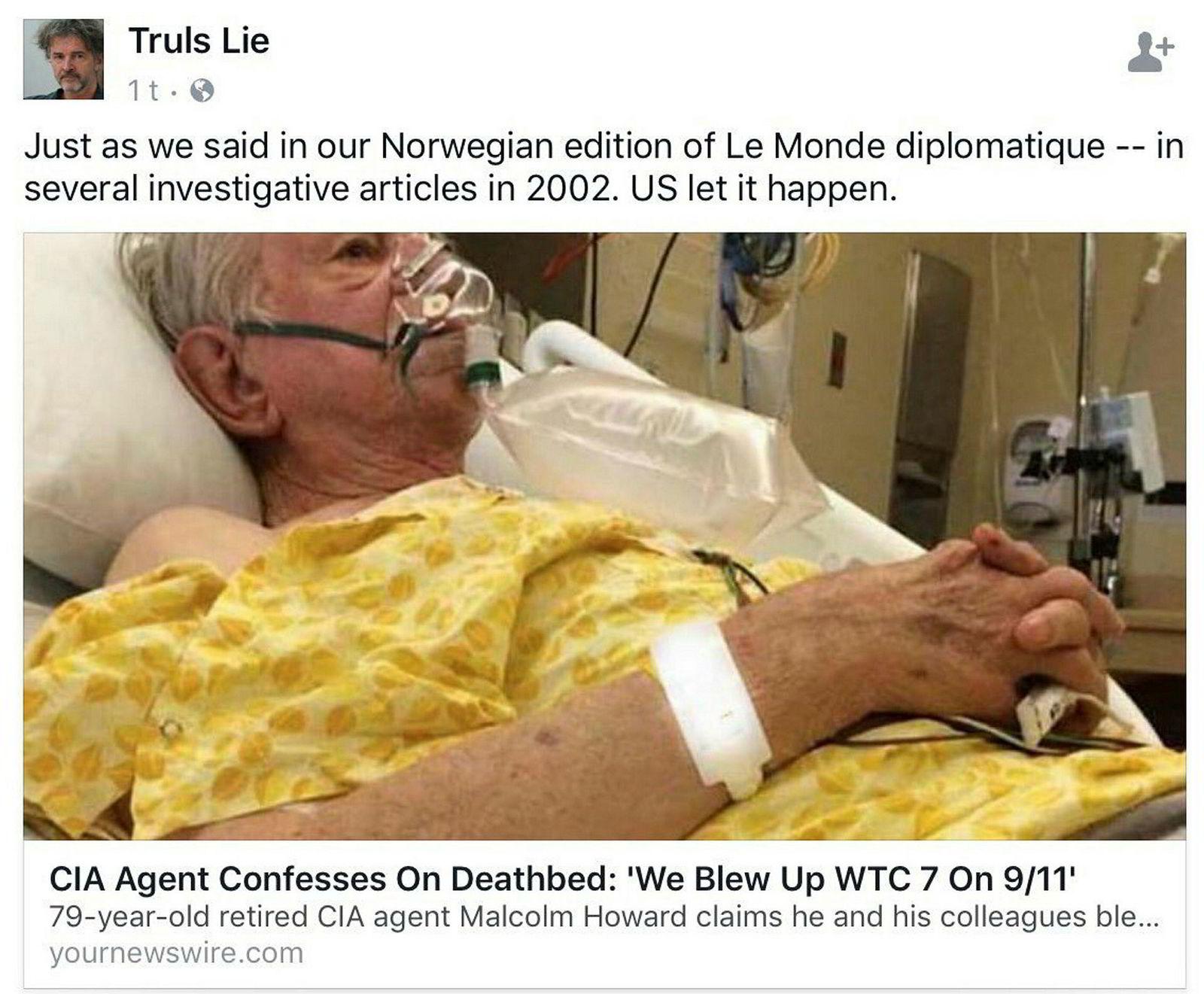 Faksimile av saken Truls Lie la ut på Facebook mandag. Innlegget ble senere slettet.