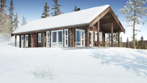 Hytteprodusenten har tro på at denne kombinasjonen av tradisjonell laft og moderne vinduer vil slå an. Illustrasjon: Saltdalshytta