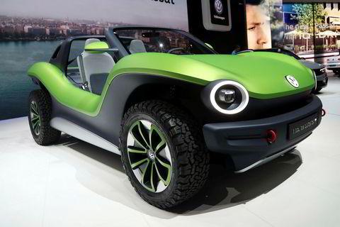 Volkswagen id med nok et karosserikonsept i modellen Buggy i Genève 2019.