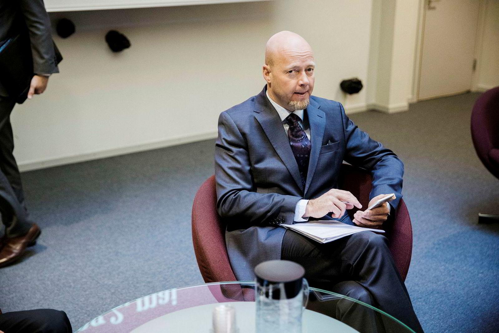Oljefondssjef Yngve Slyngstad var på plass tirsdag under den årlige stortingshøringen om Oljefondet i finanskomiteen. Foto: