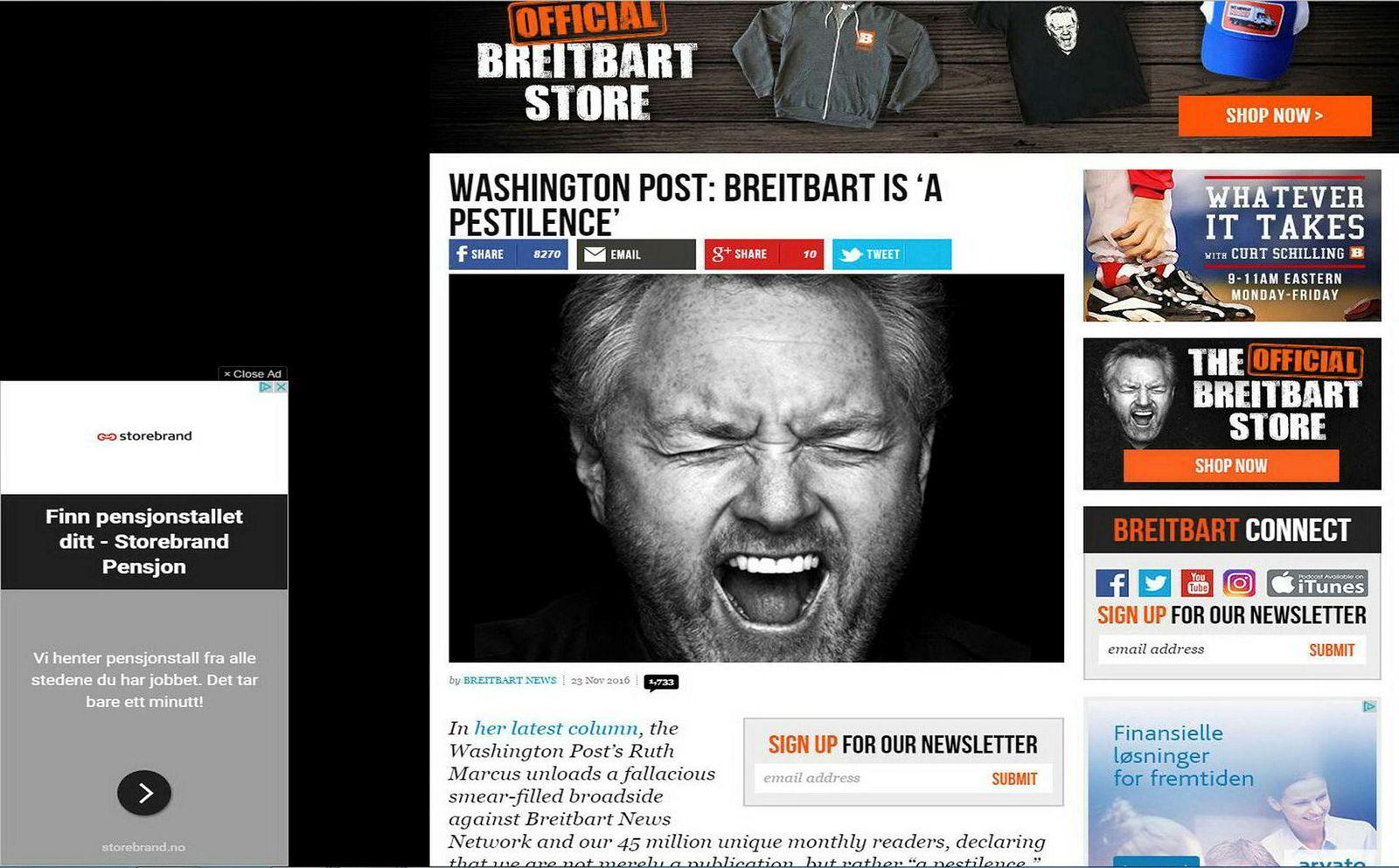 Storebrand-annonse på Breitbart.com.