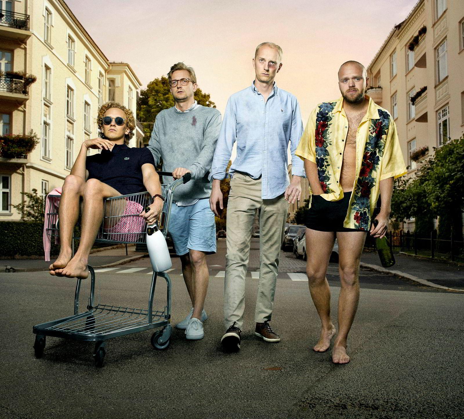 Kompisgjengen i «Hvite gutter» er i midten av 20-årene. Hovedrollene spilles av Eirik Hvattum, Jørgen Evensen, Torjus Tveiten og Johannes Fürst.