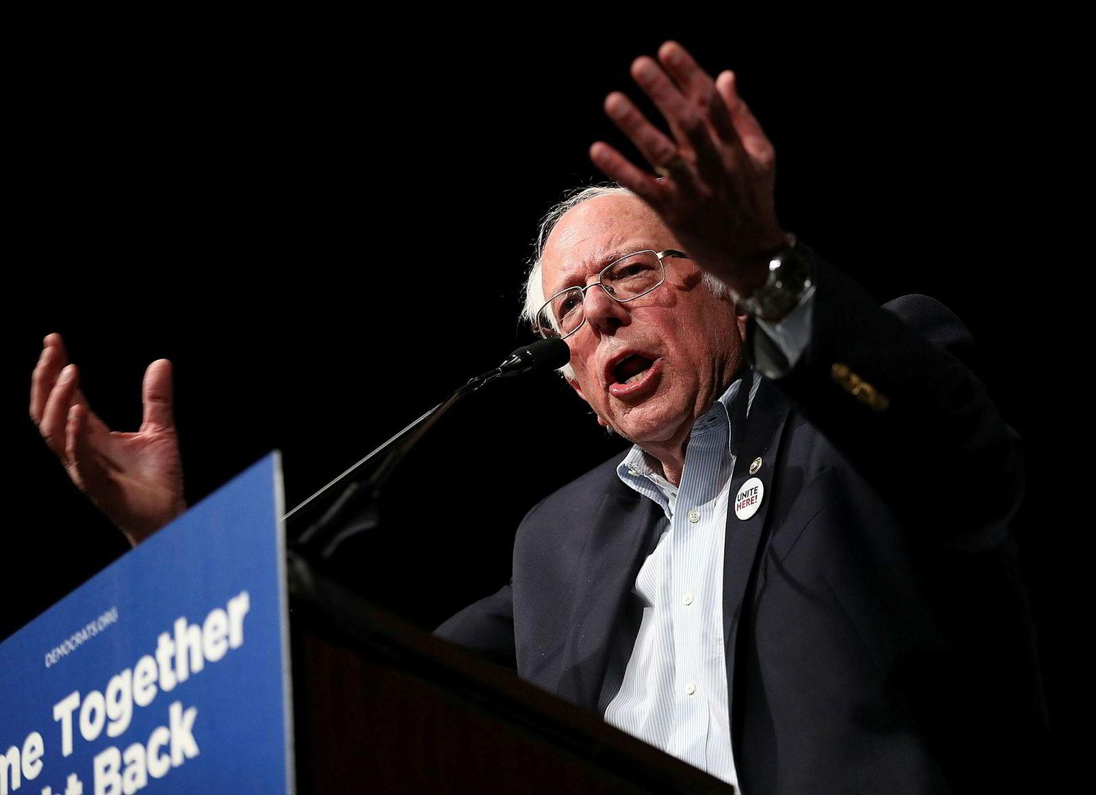 Senator Bernie Sanders under en tale i Miami denne uken.