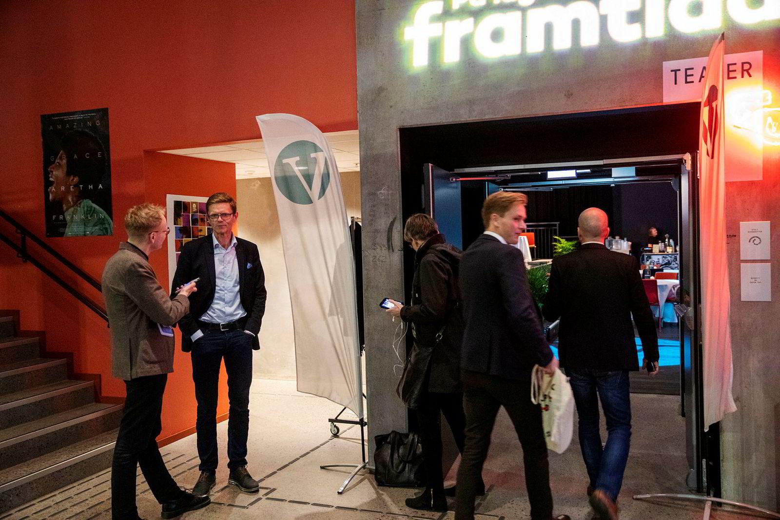 Nestleder Terje Breivik var en av de første som kom på Venstres valgvake på Vega i Oslo mandag kveld.