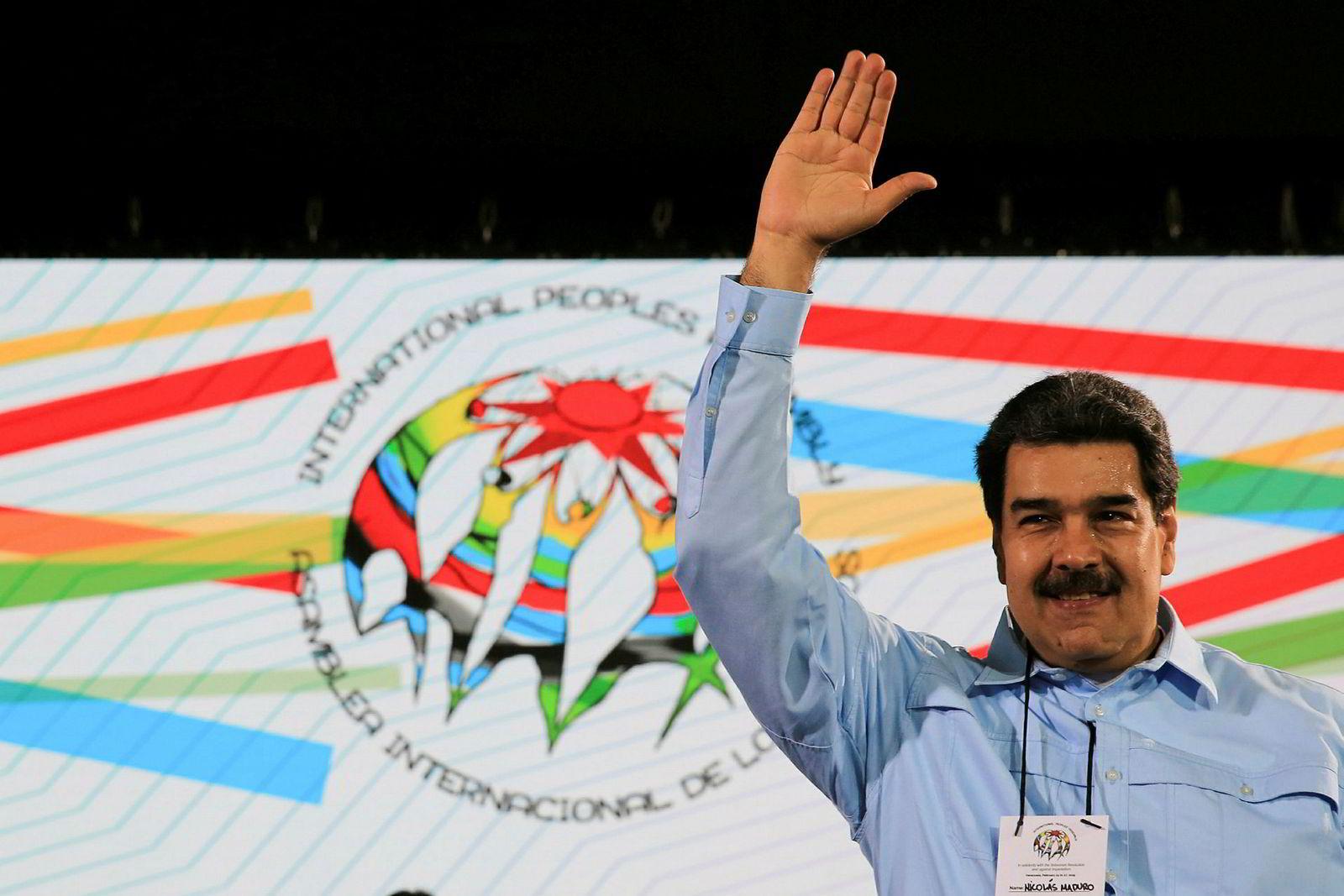 Venezuelas president Nicolás Maduro på et møte i hovedstaden Caracas tirsdag denne uken.