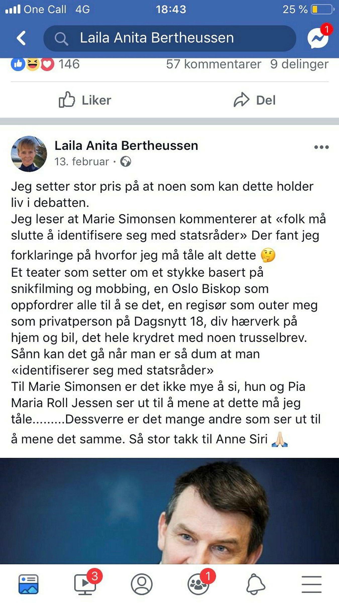Dette delte Laila Anita Bertheussen på sin Facebook-profil 13. februar 2019. Innlegget ble torsdag kveld slettet.